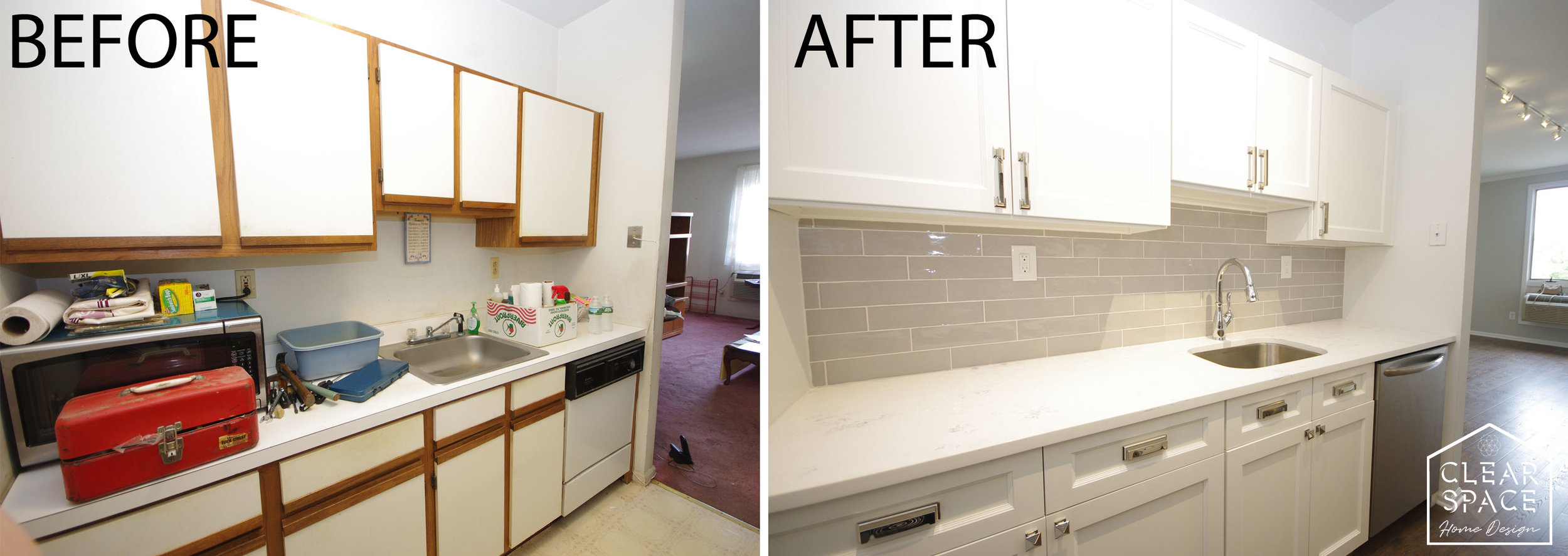 Goodbye 1980s white laminate and wood cabinet fronts!  Here I retrofitted new full overlay doors on the existing solid wood frames for a modern look plus new hardware, some stylish gray backsplash tile with marble-look quartz countertops.  My client upgraded to SS appliances.