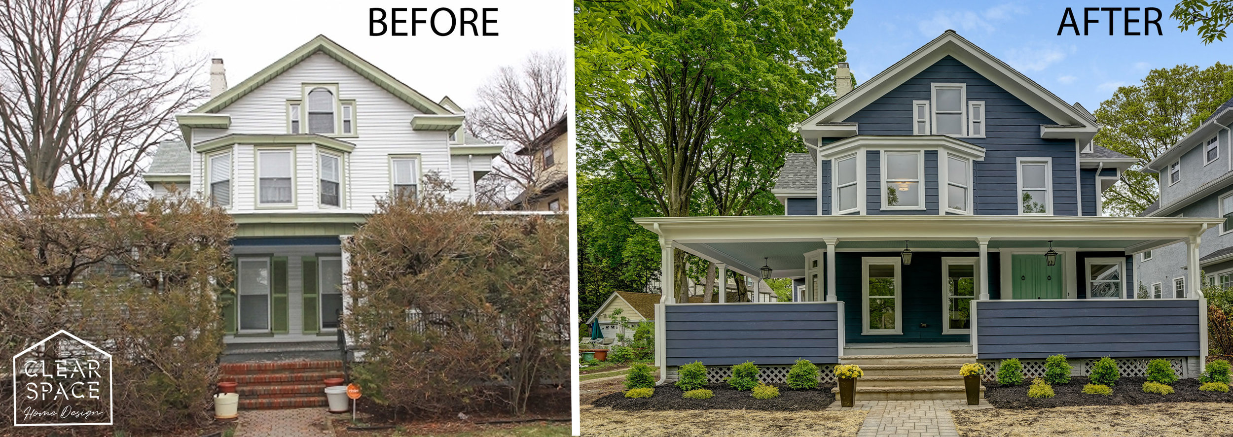 The dumpy multi-family gets a serious makeover with dark blue Hardie board siding. We've gotten many compliments on the bold color choice!