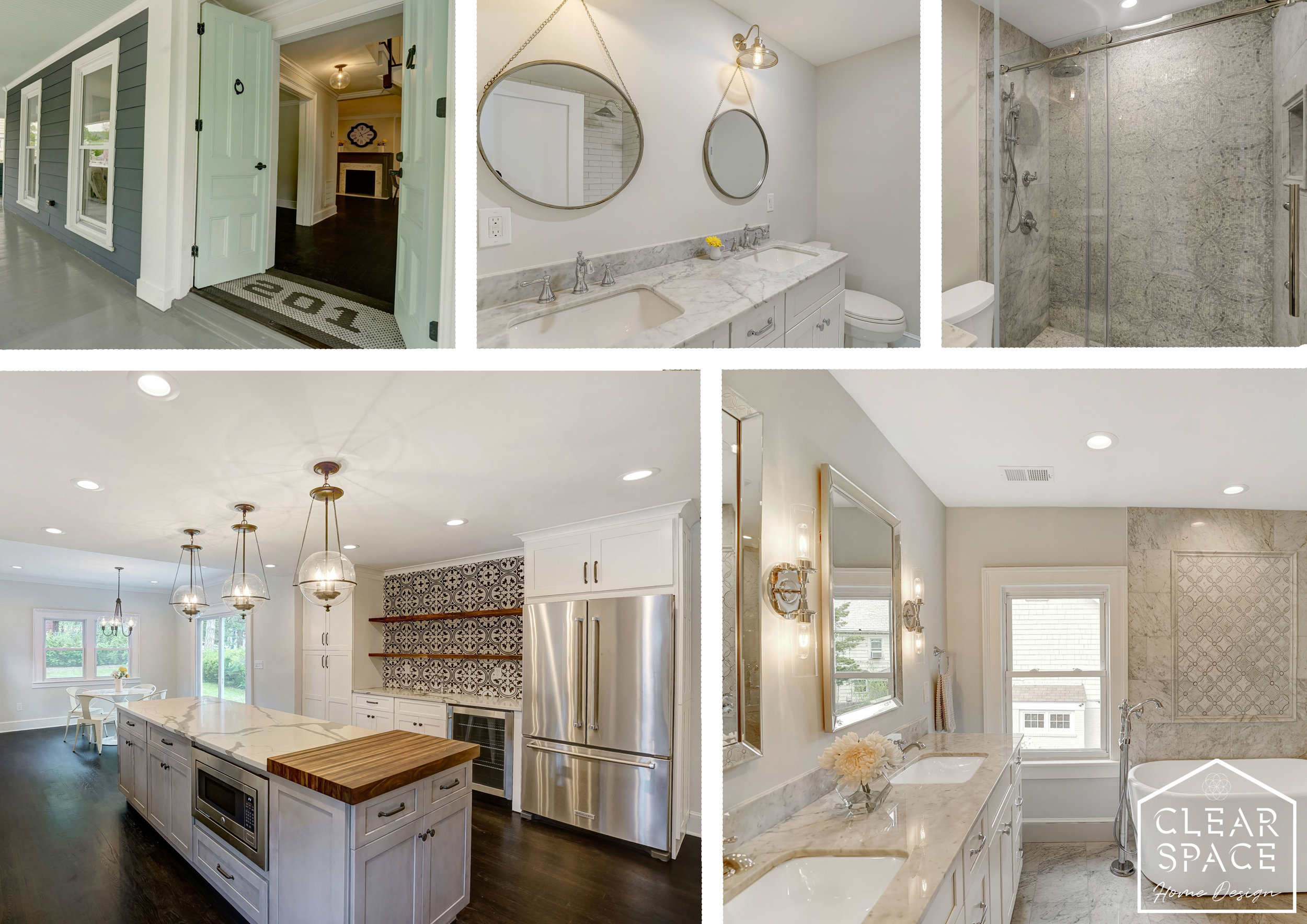 Here's a little overview of some the WOW factors... entry doors and tile, Carrara marble baths, tile feature walls and an expansive kitchen with custom walnut chopping block, floating shelves and Moroccan feature tile.