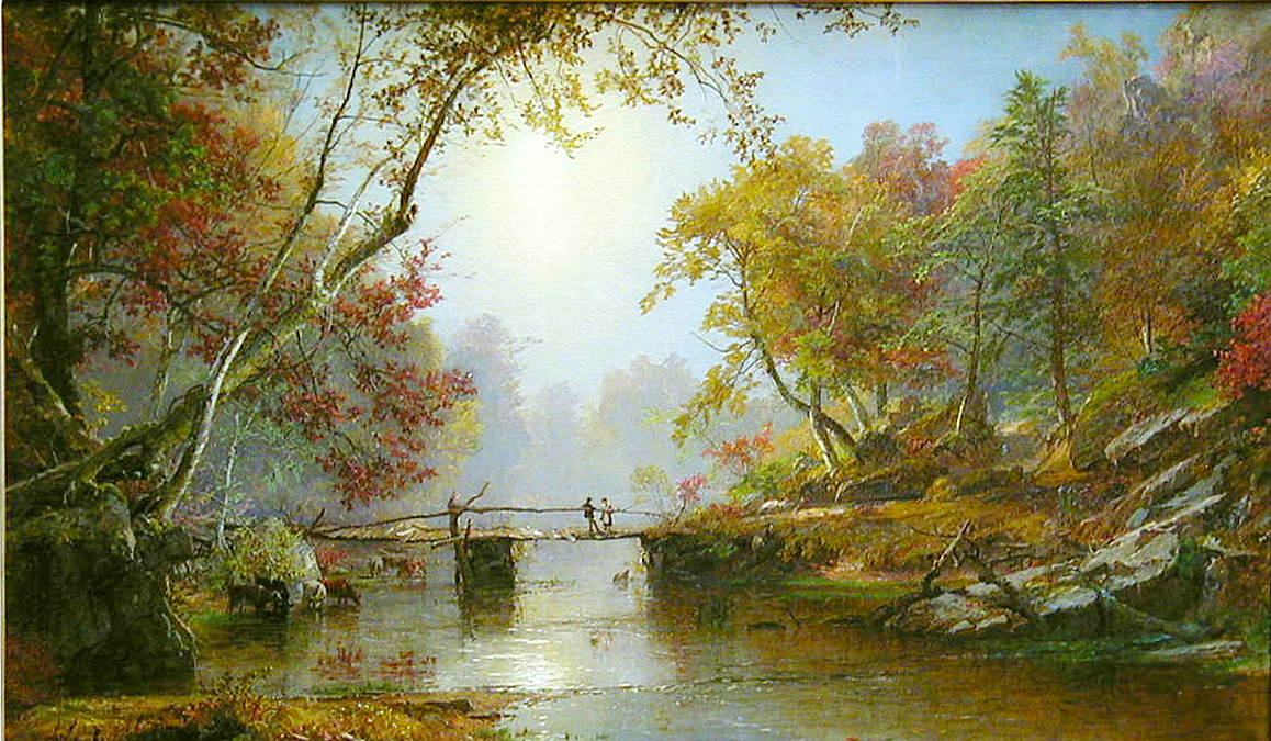 Jasper Cropsey's  Autumn on the Ramapo River - Erie Railway , 1876