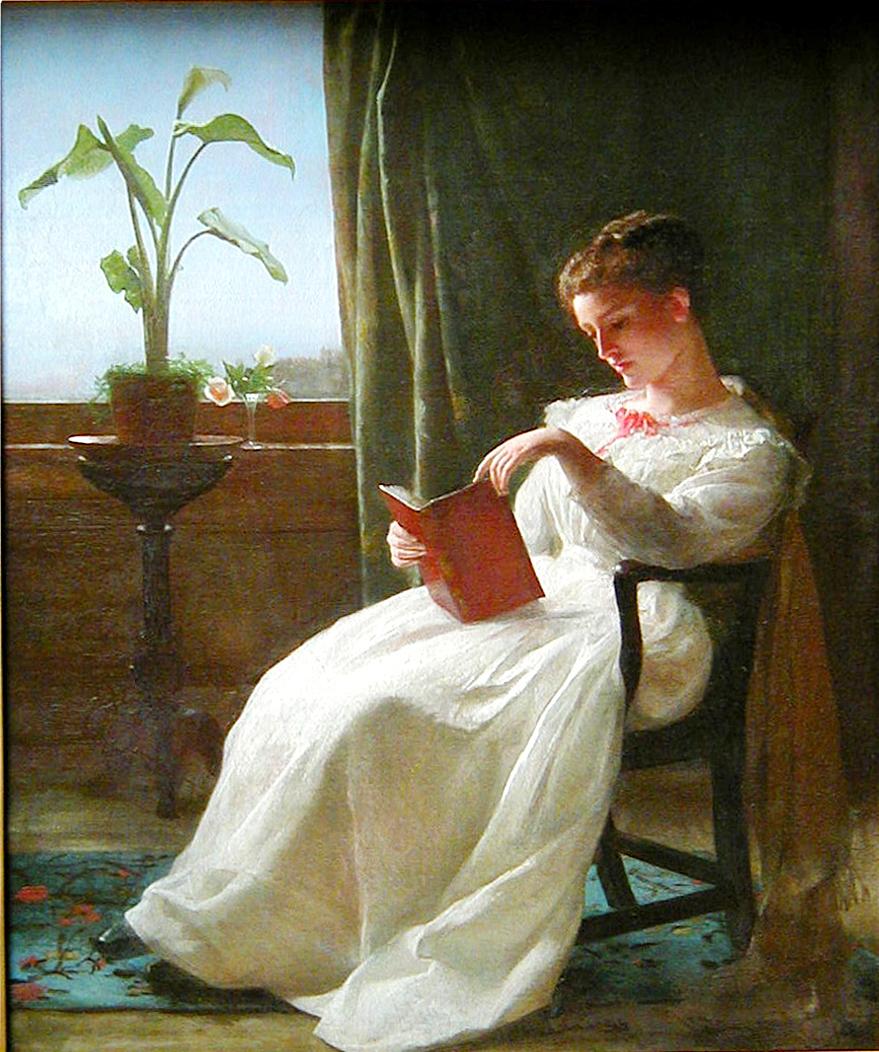 George Lambdin's  Girl Reading , 1872