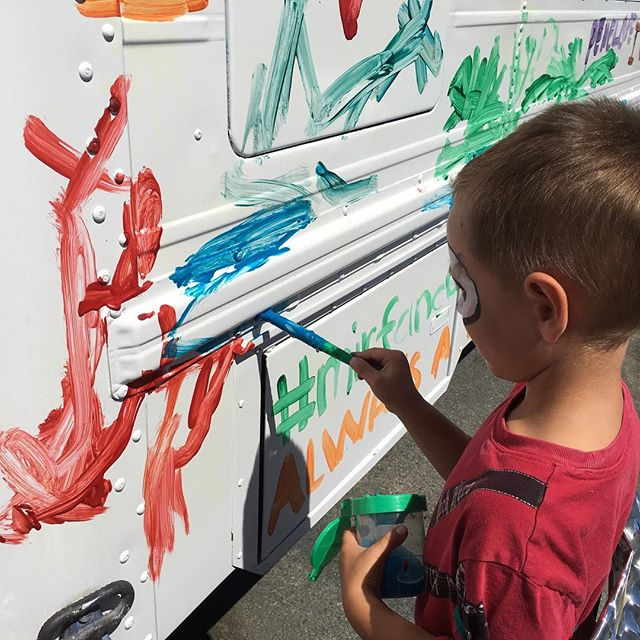 Come out and paint on the @art_bus at #WeAreLAFest #WeAreLA #familymusic #familyfun. All family activities until 6 pm. Music continues until 11 pm. Tickets at the gate.