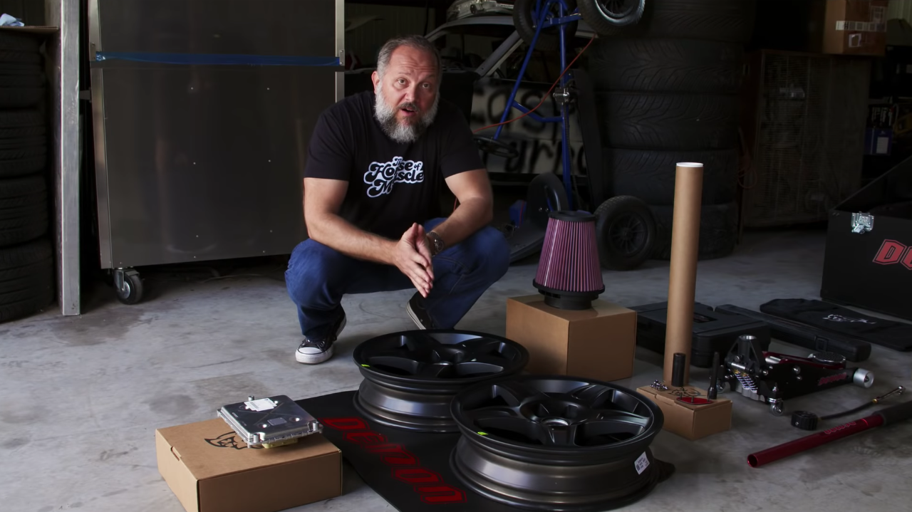 Epi 2. - The Demon Crate - Anyone who has ever been drag racing knows that aside from your vehicle that it takes tools and equipment to help you go fast. To make this easier for Demon owners Dodge has put together the Demon Crate, a $1 option that includes everything the serious drag racer needs to help them boogie down the 1/4-mile. On this, our second Episode of the Demon Diaries, we go through the Crate in full detail explaining not only what's included, but what each individual part is used for.