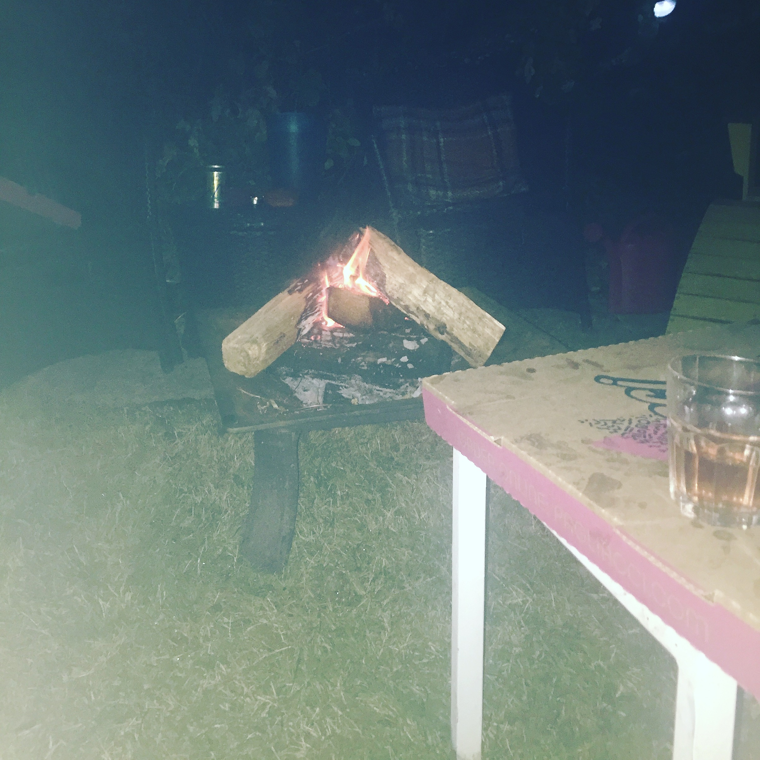 My little bonfire. I even chopped the wood myself! Peep the greasy pizza box and glass of wine in the corner. Lol