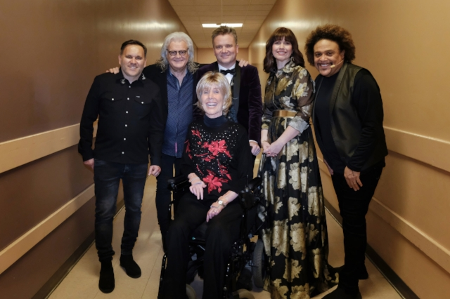 Backstage at Segerstrom Hall, L to R: Matt Redman, Ricky Skaggs, Joni Eareckson Tada, Keith Getty, Kristyn Getty, Pedro Eustache