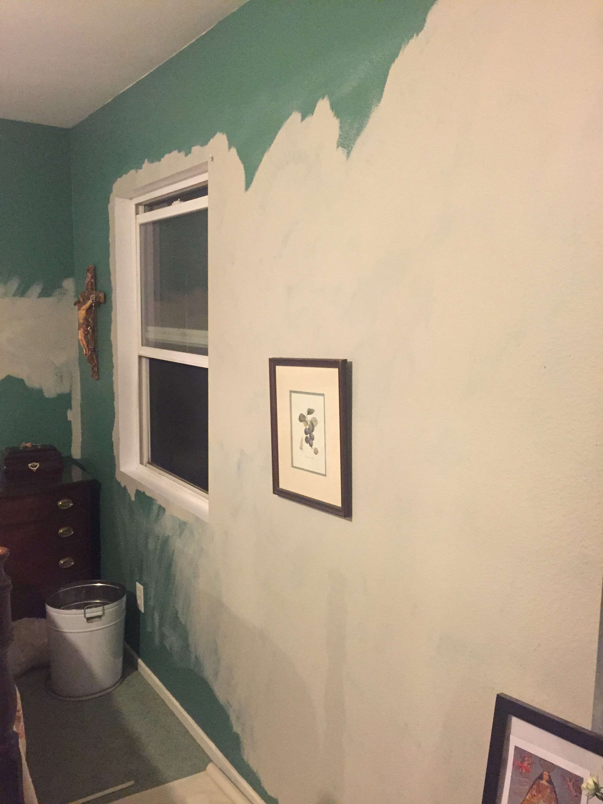 Hours later...still painting the same wall over and over again.