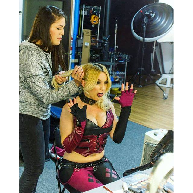 Behind the scenes antics as Harley Quinn, photo courtesy Lisa Pinelli