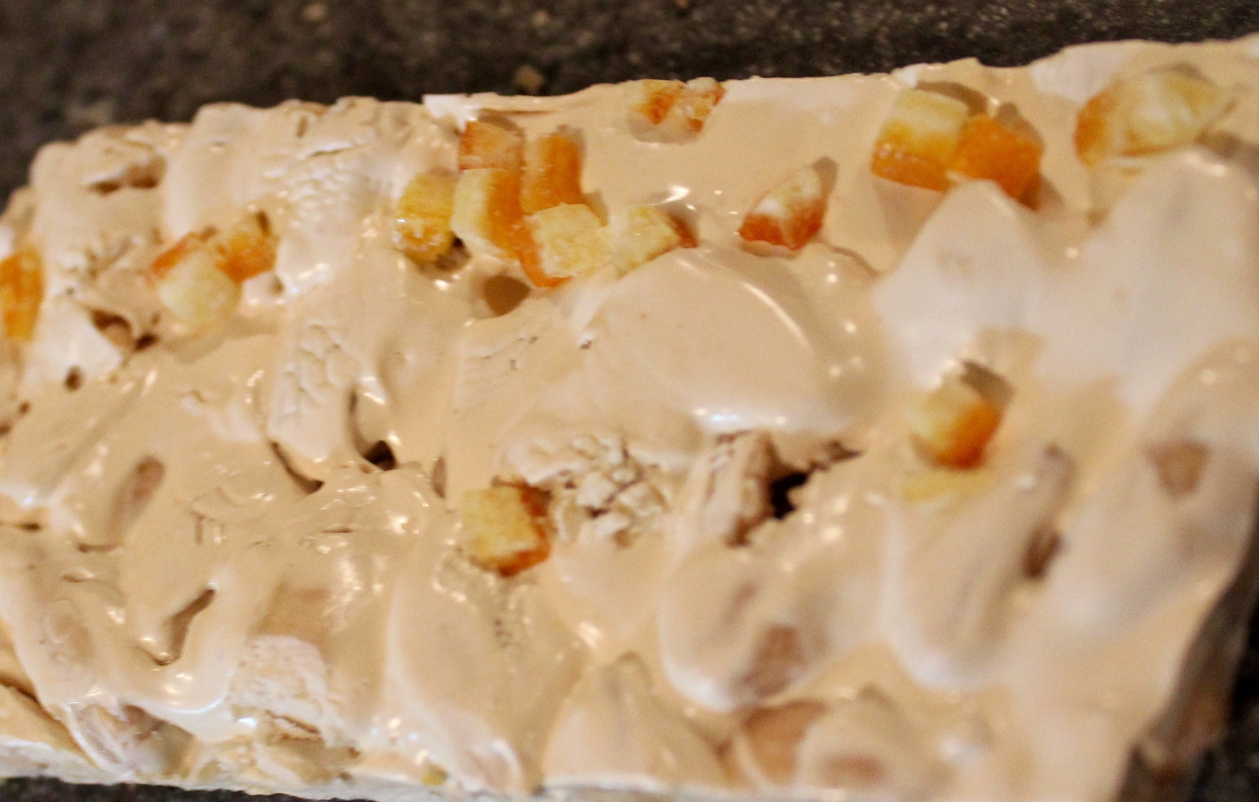 Nougat with Orange Peels and Marcona Almonds, with rice-paper backing