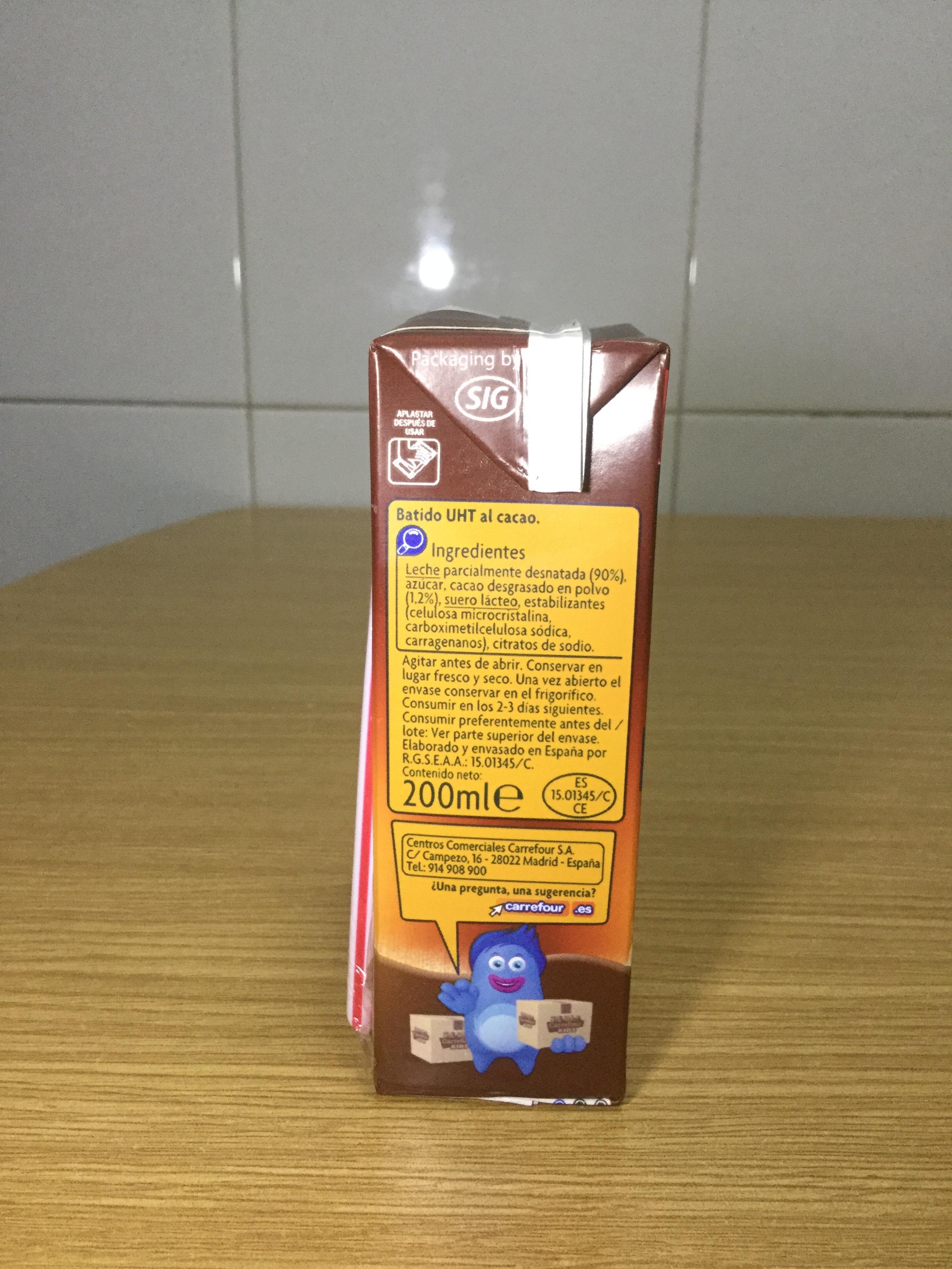 Carrefour Kids Batido Al Cacao SIde 2