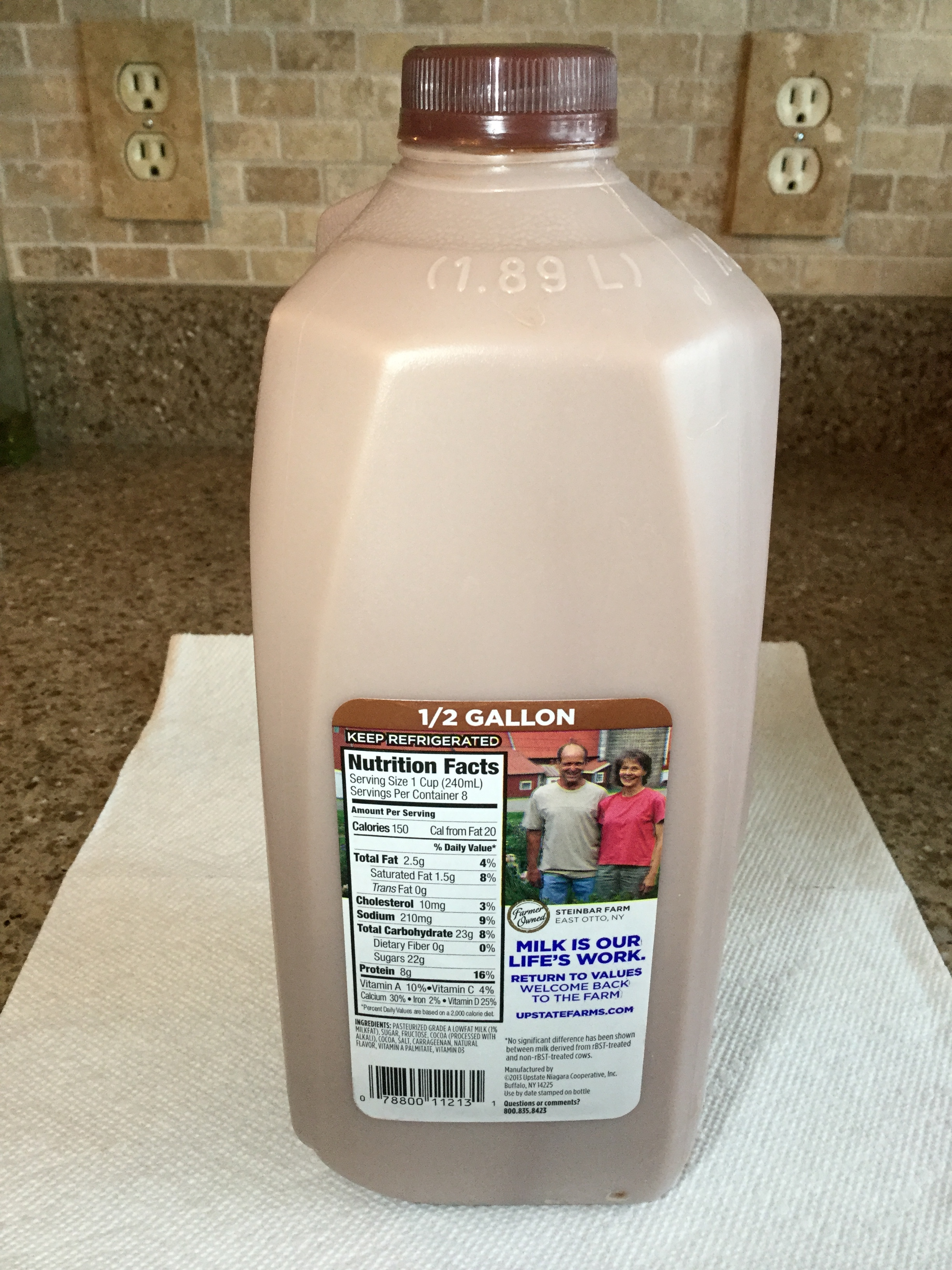 Upstate Farms Low Fat Chocolate Milk Side 1