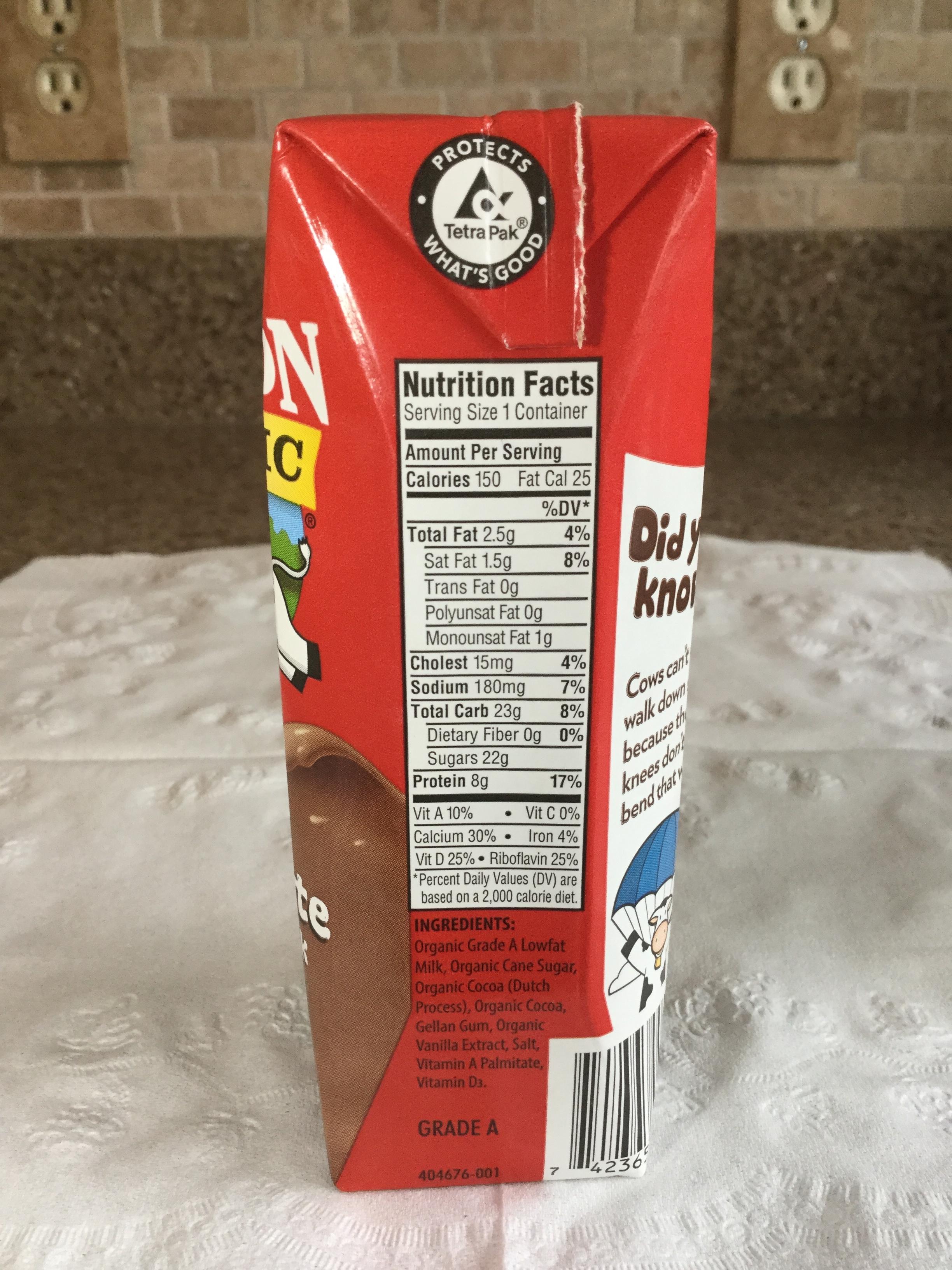 Horizon Organic Chocolate Lowfat Milk (UHT) Side 1
