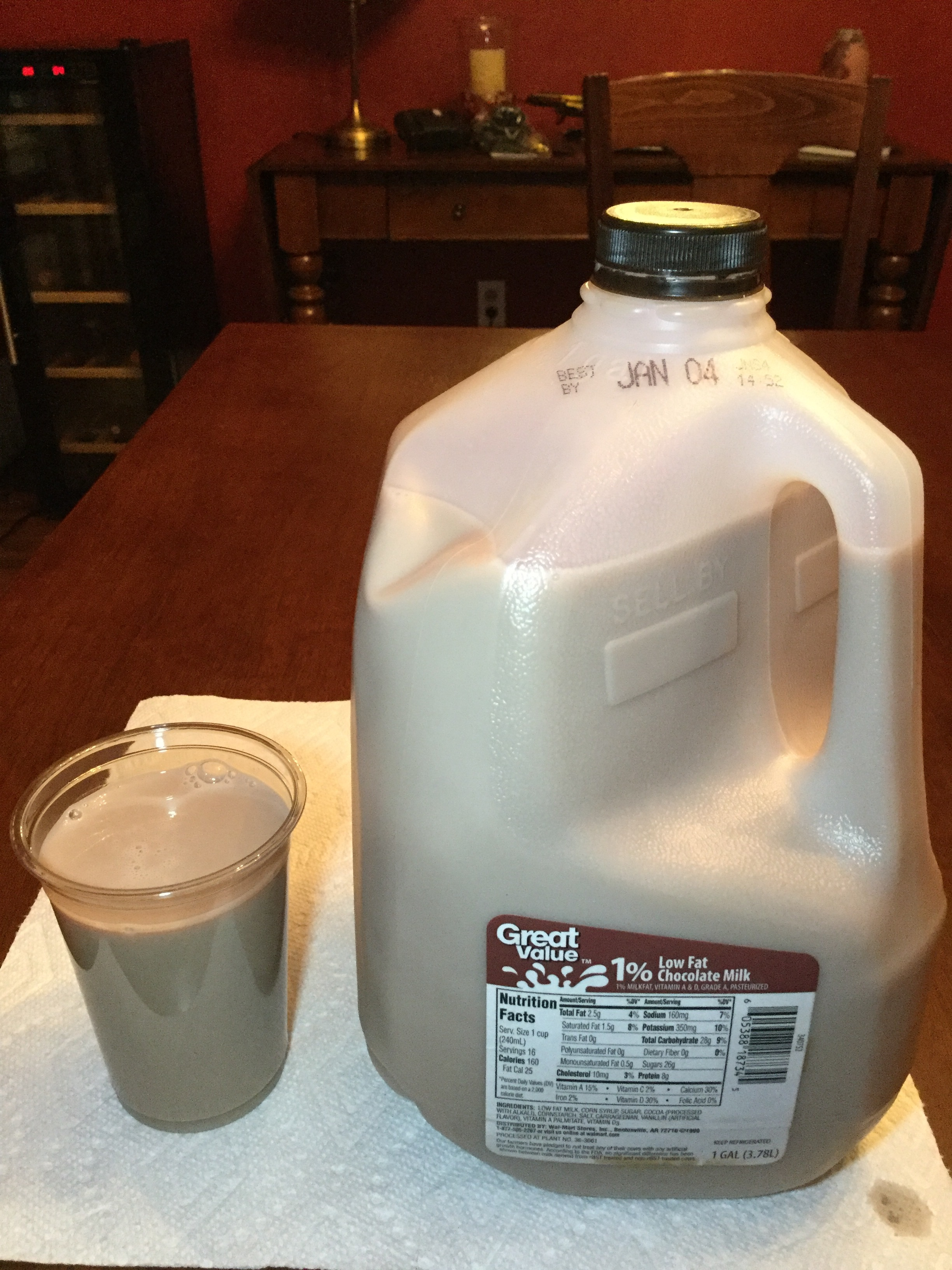 Great Value 1% Low Fat Chocolate Milk Cup