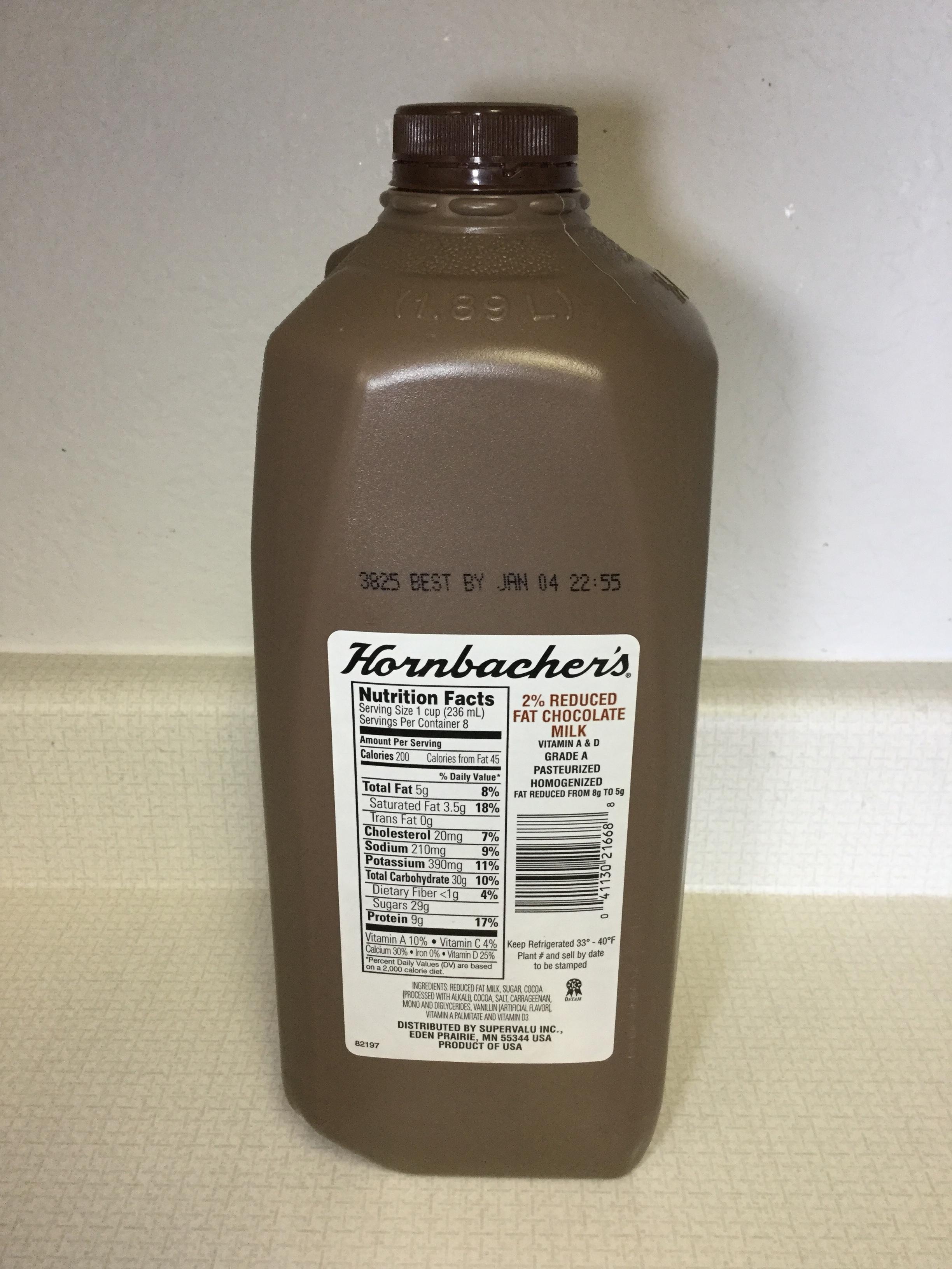 Hornbacher's 2% Reduced Fat Chocolate Milk Side 1