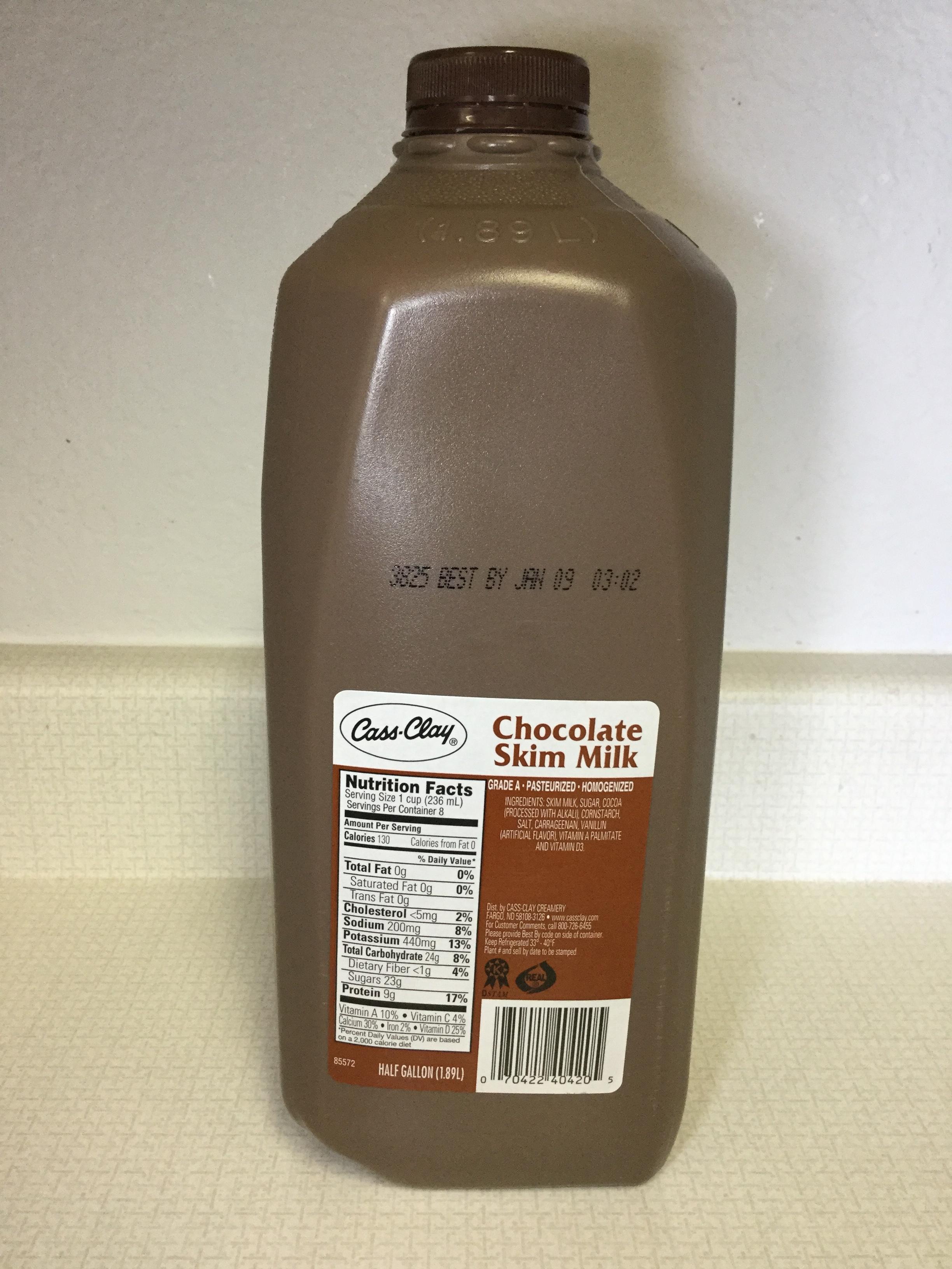 Cass-Clay Fat Free Chocolate Skim Milk Side 1
