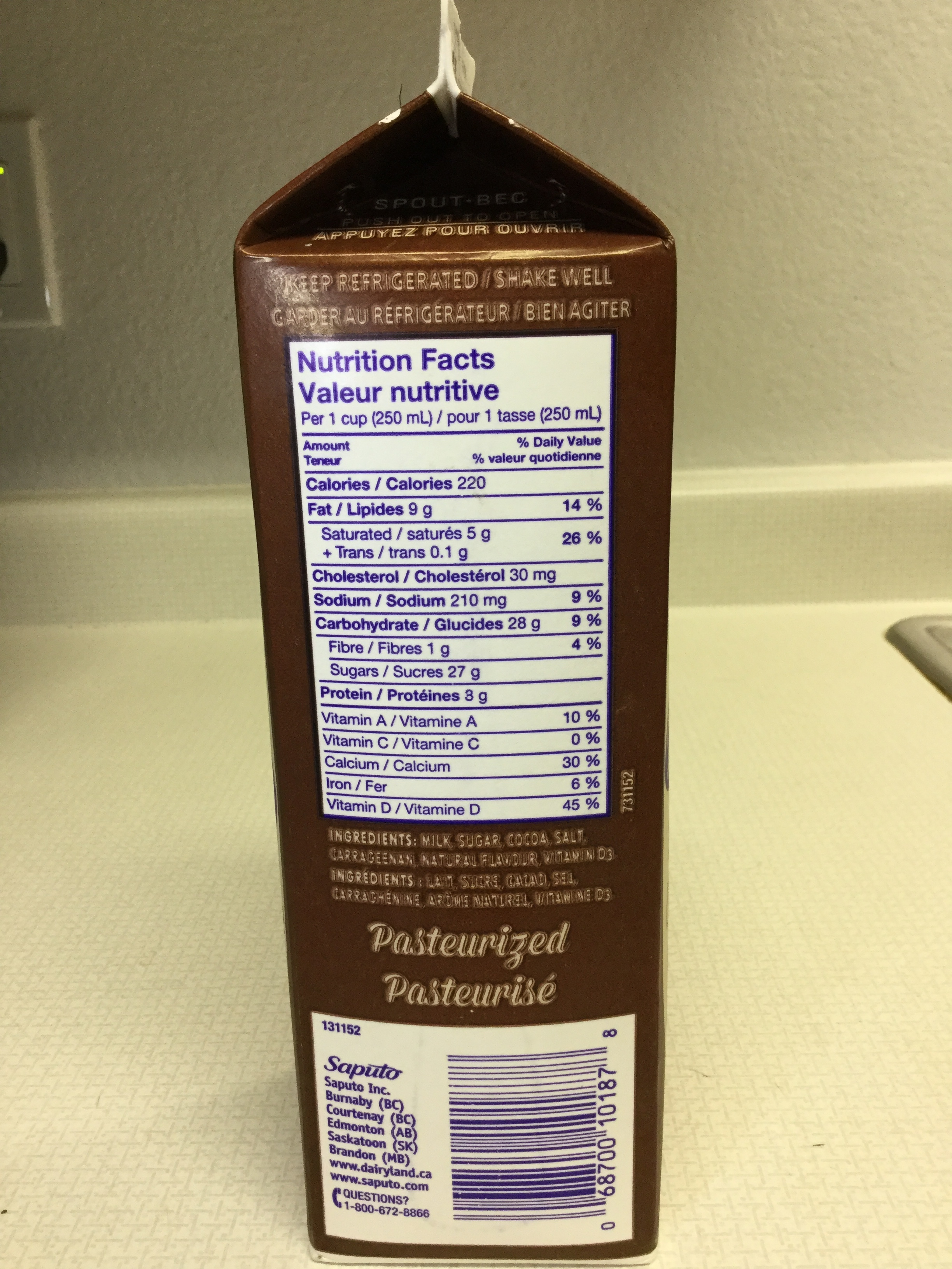 Dairyland Old Fashioned Chocolate Milk Side 1