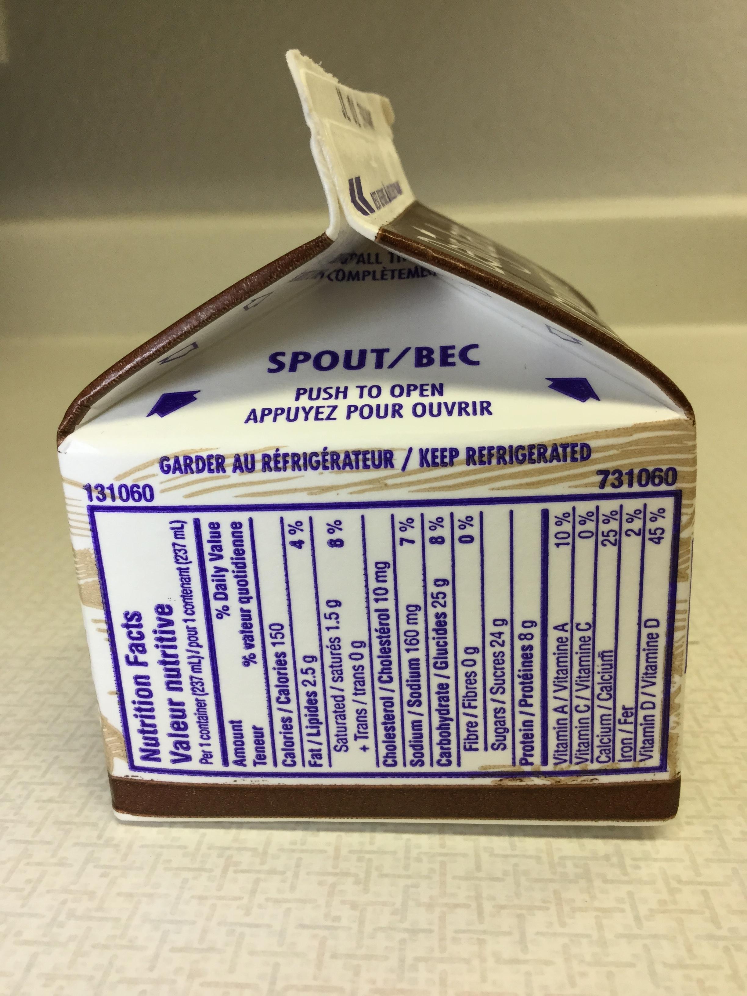 Dairyland Chocolate Partly Skimmed Milk Side 1