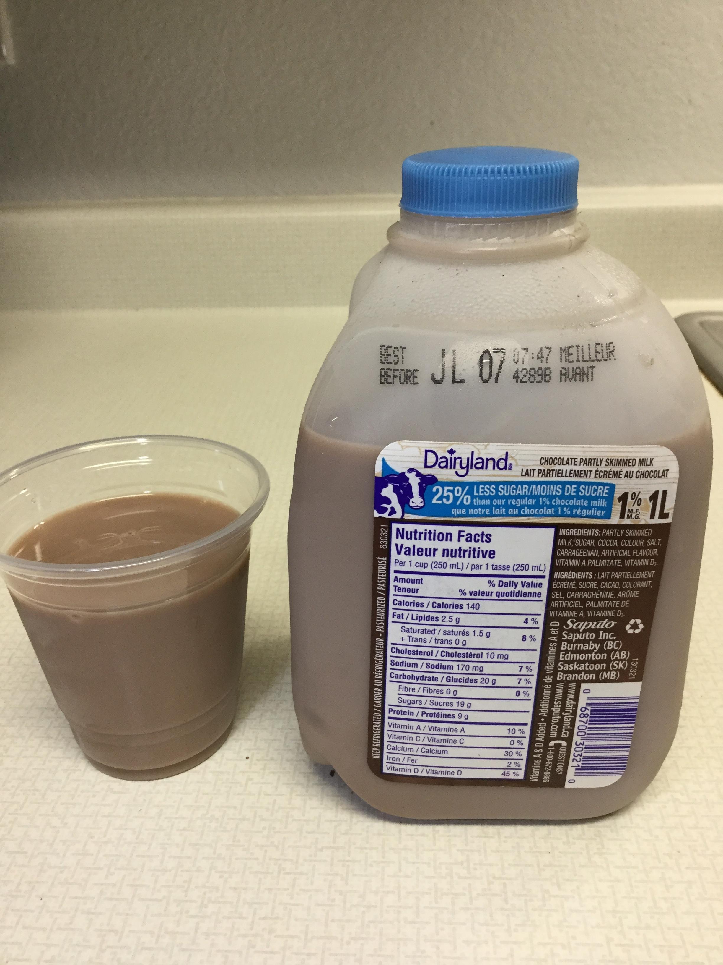 Dairyland Chocolate Partly Skimmed Milk 25% Less Sugar Cup