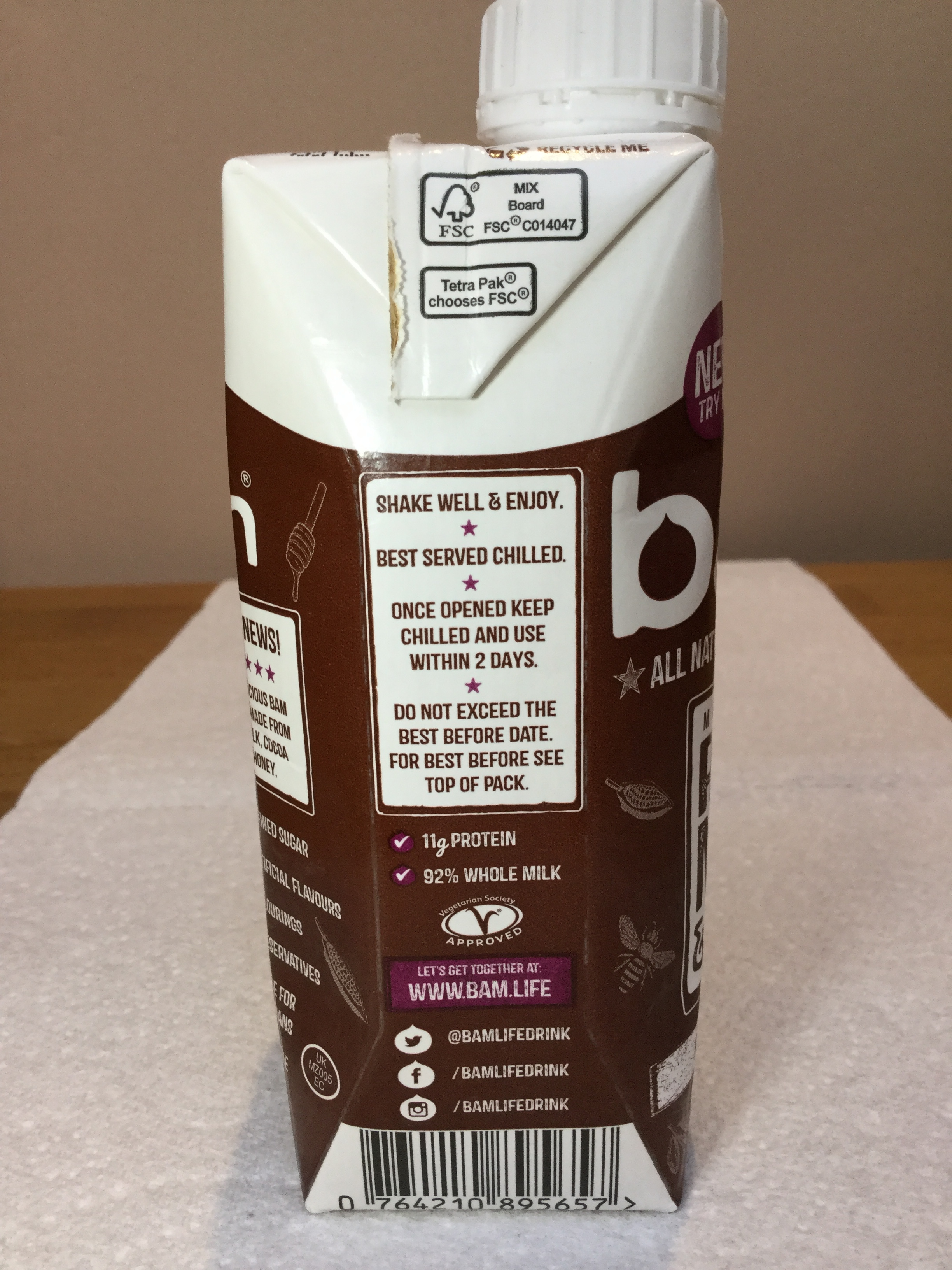Bam All Natural Chocolate Milk Side 2