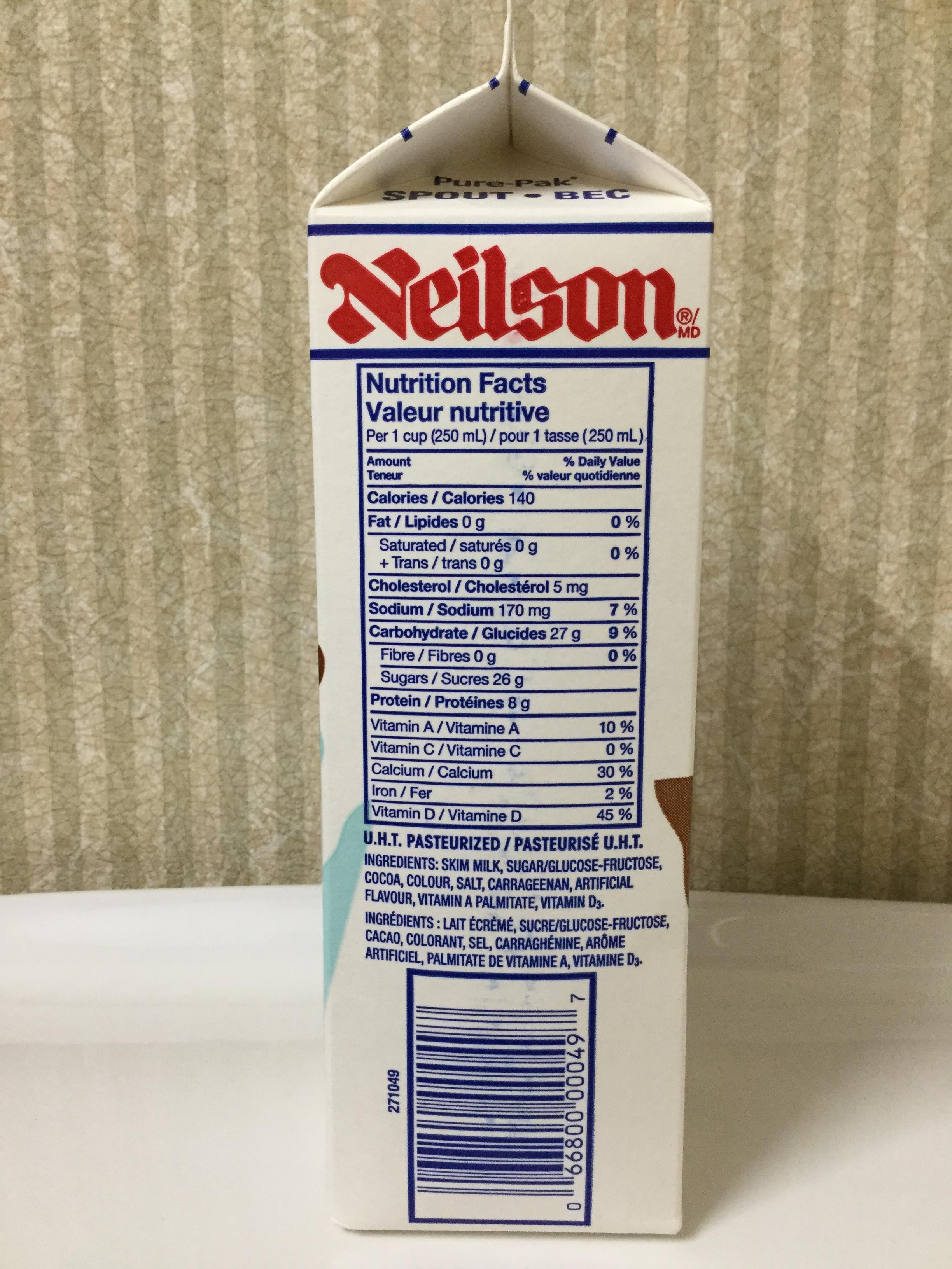Neilson Fat Free Chocolate Milk Side 1