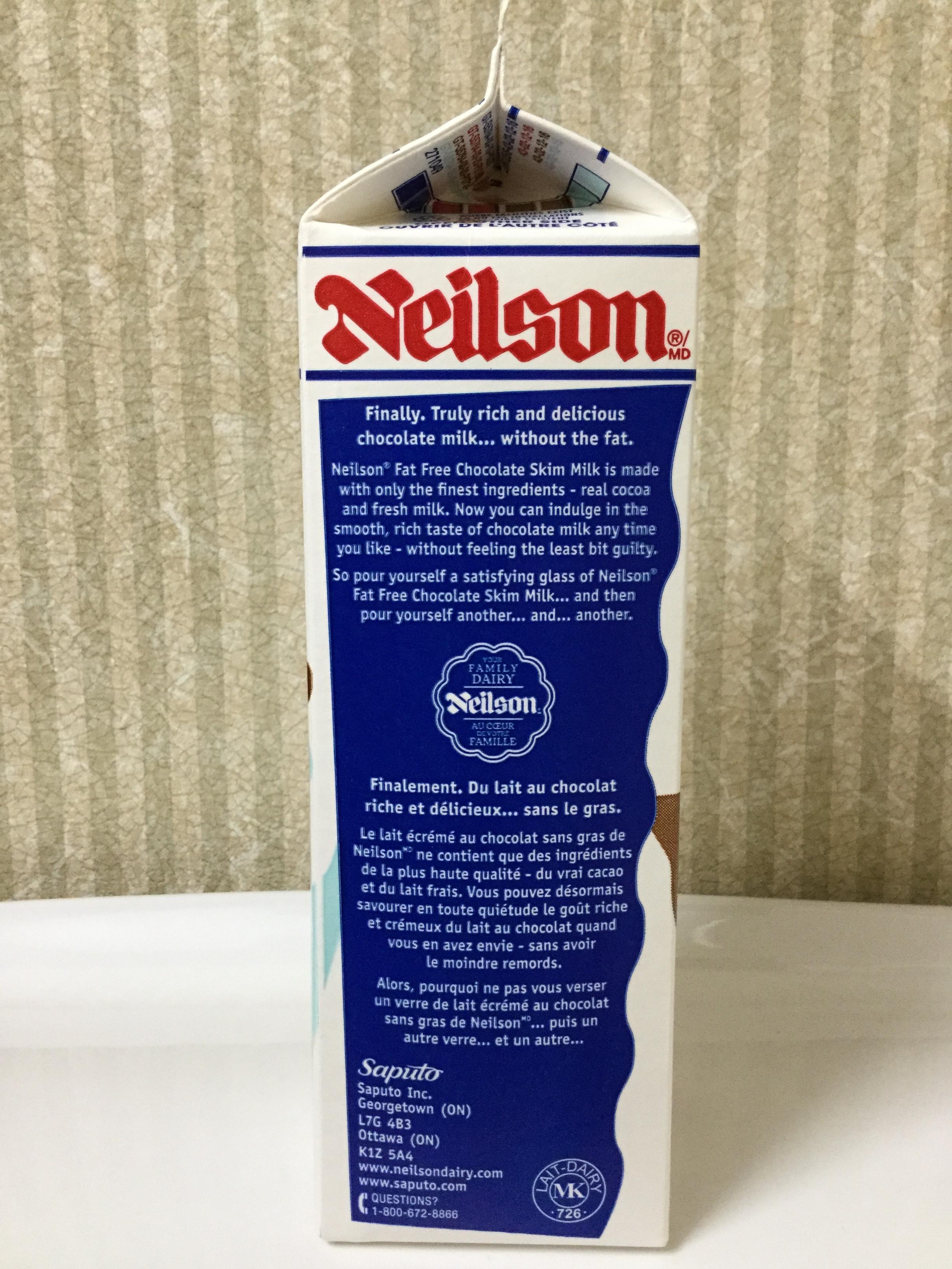 Neilson Fat Free Chocolate Milk Side 2