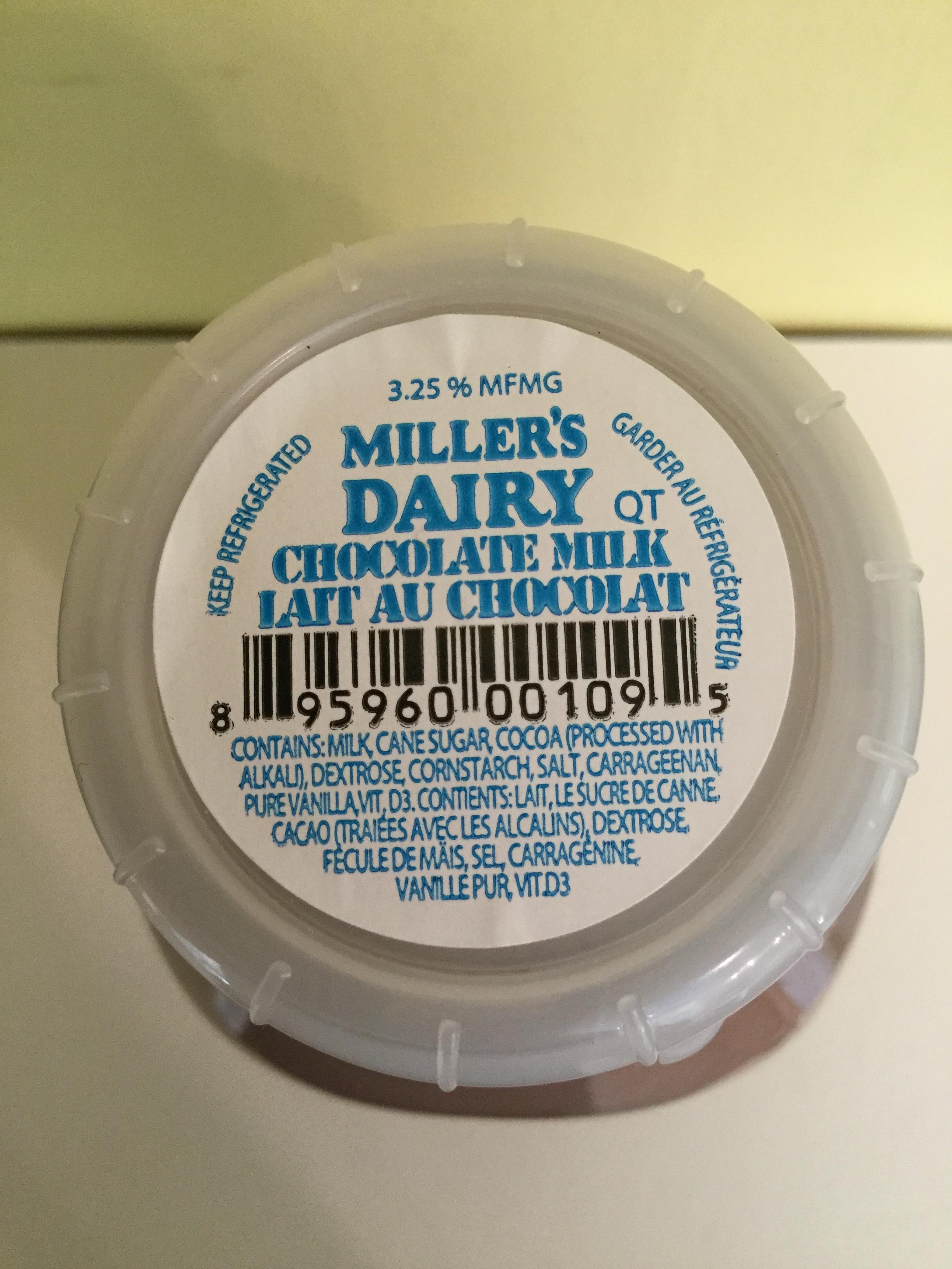 Miller's Dairy Chocolate Milk Top