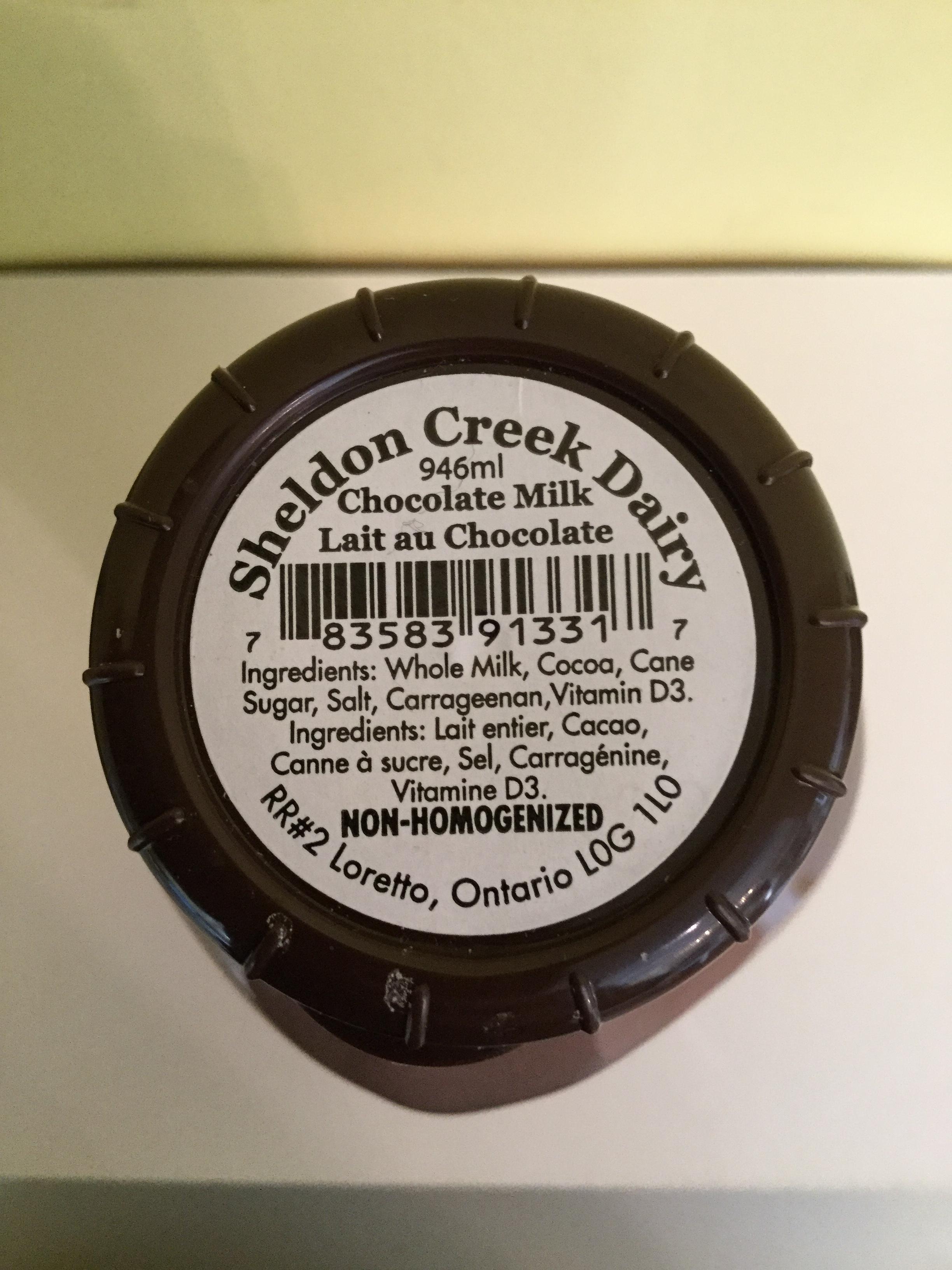 Sheldon Creek Dairy Chocolate Milk Top