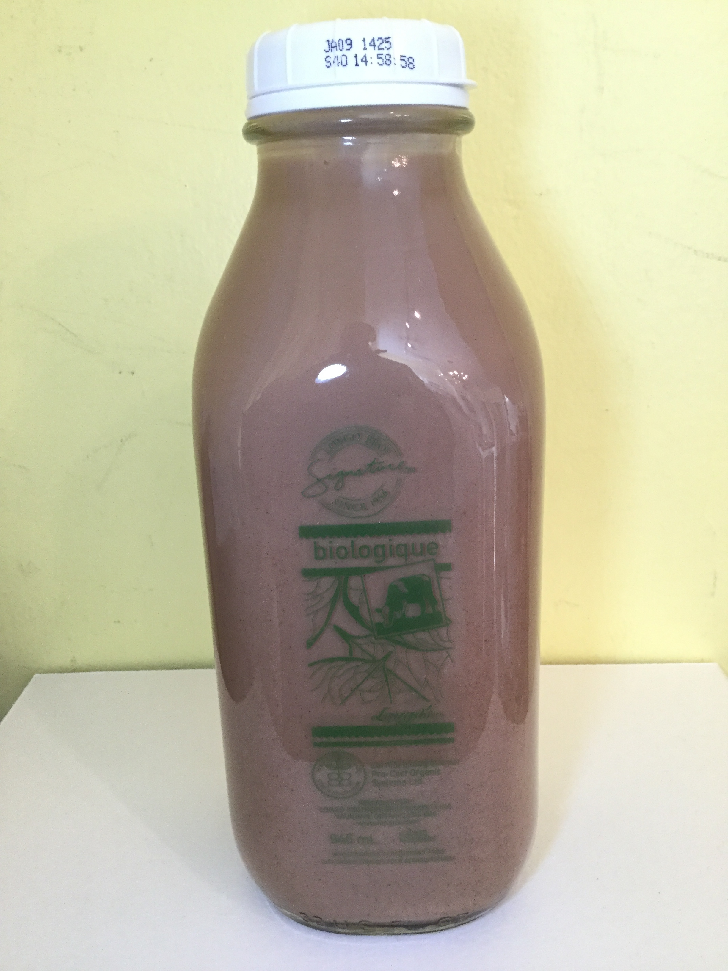 Longo's Organic Chocolate Milk Side 1