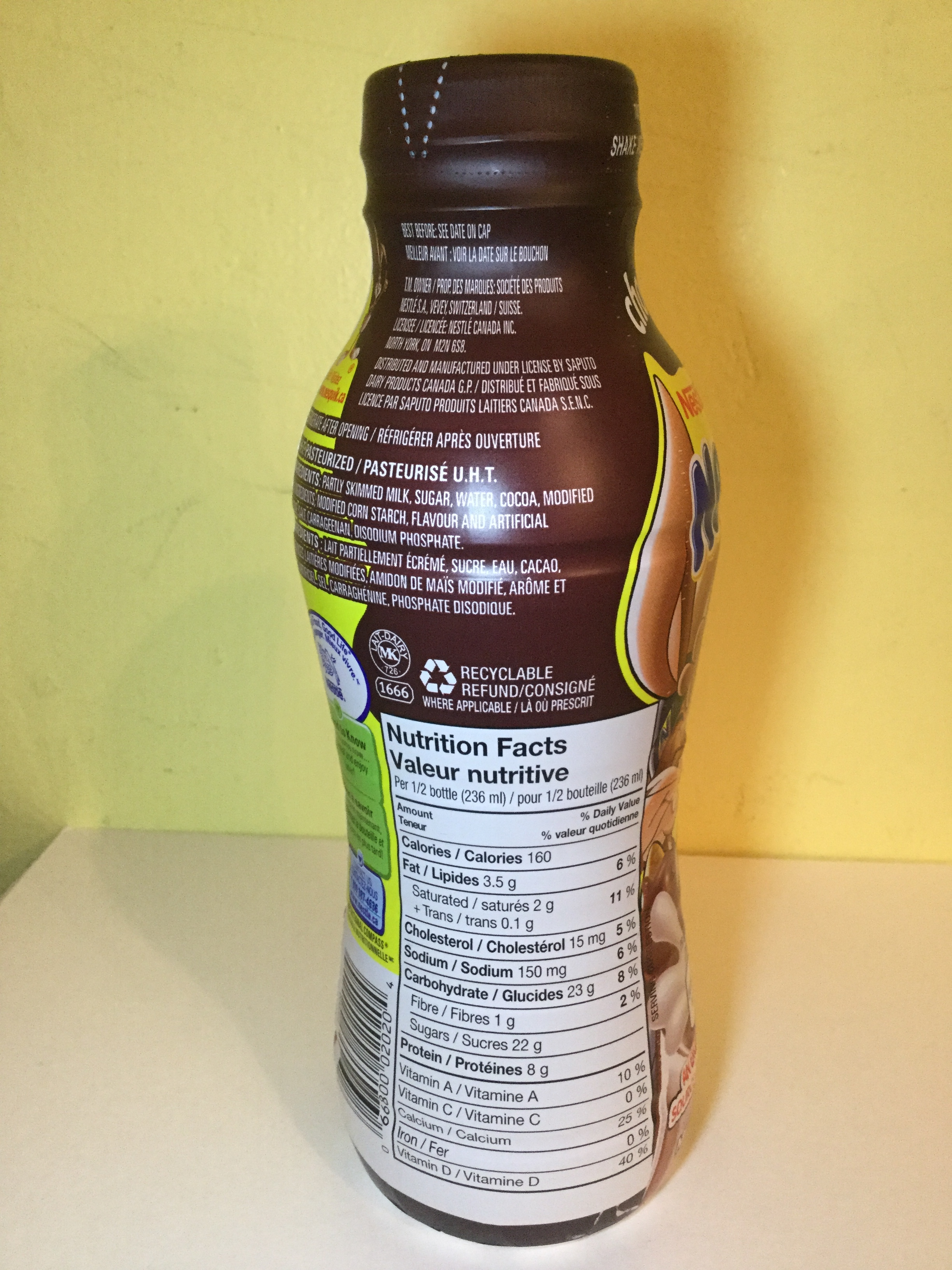 Nestle Nesquik Chocolate Milk Side 1