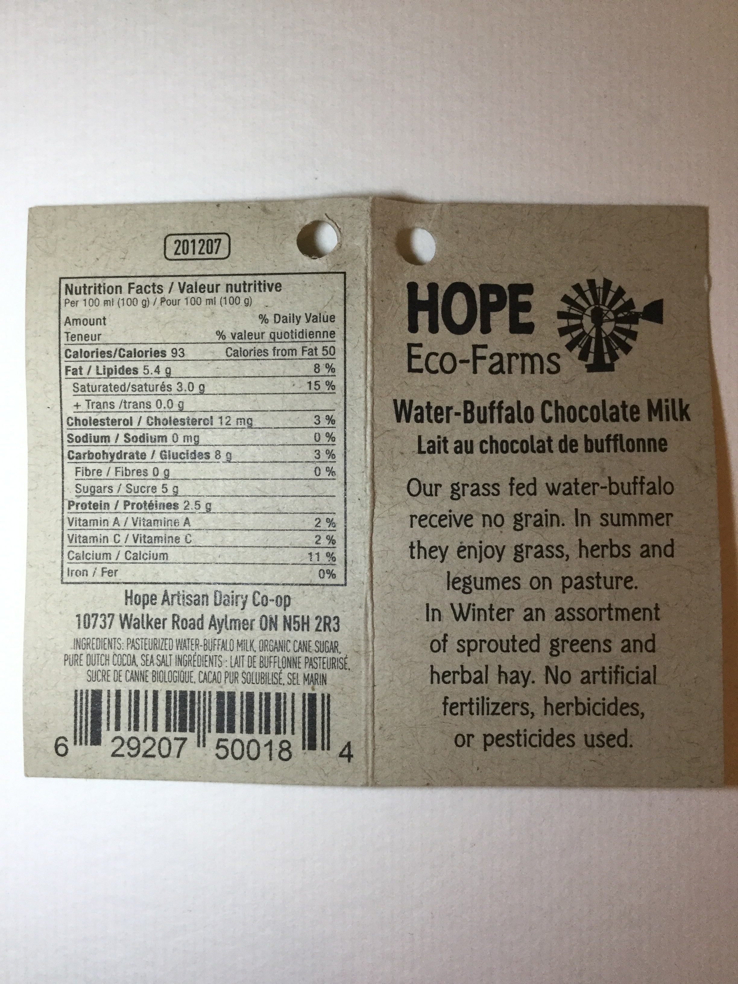Hope Eco-Farms Chocolate Milk from Grassfed Water-Buffalo Side 3