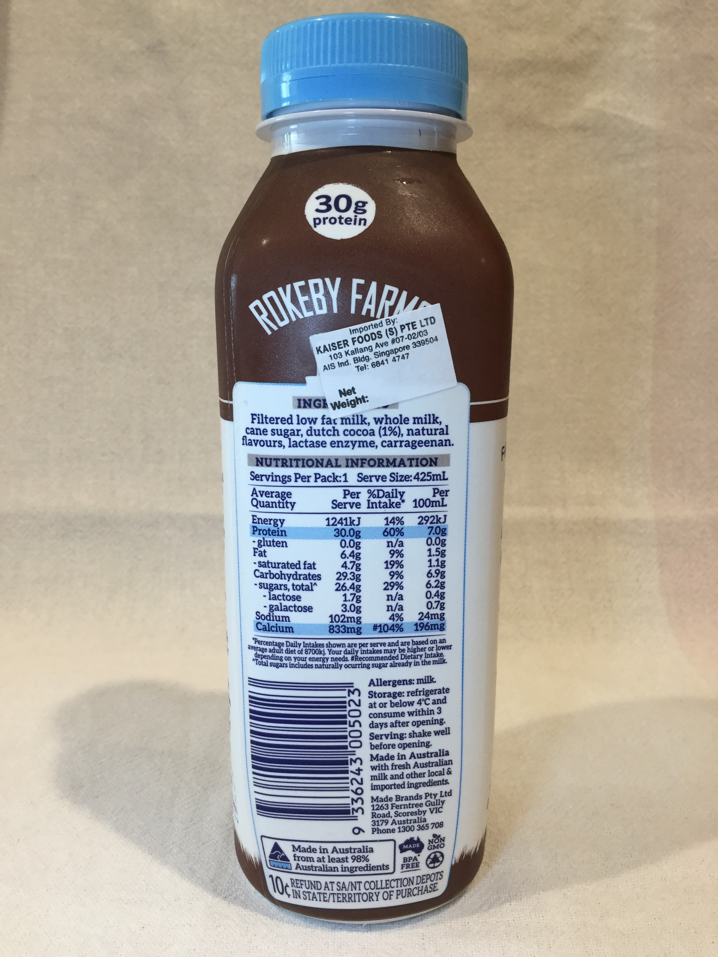 Rokeby Farms Whole Protein Dutch Chocolate Breakfast Smoothie Side 1