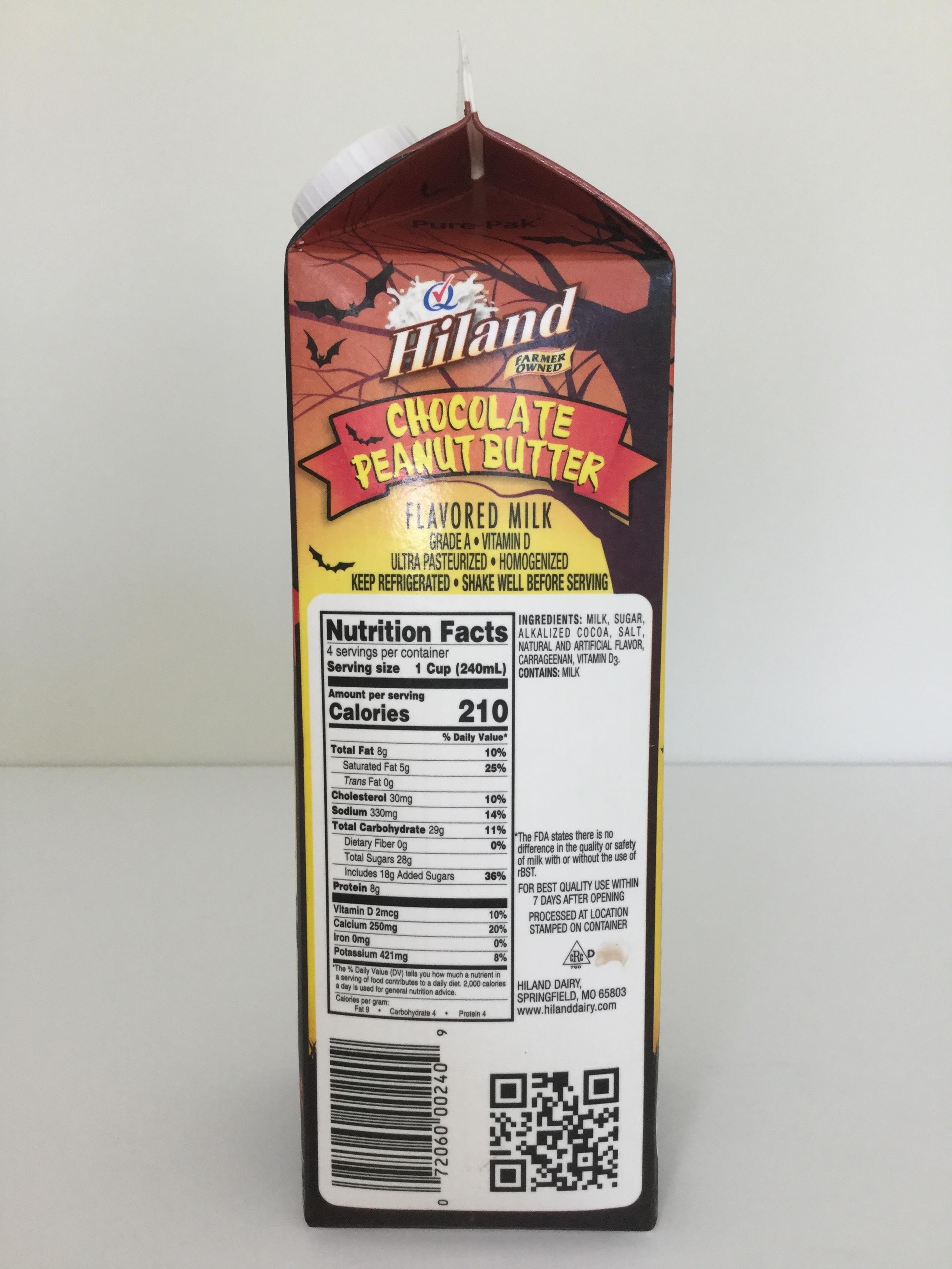 Hiland Chocolate Peanut Butter Milk Side 1