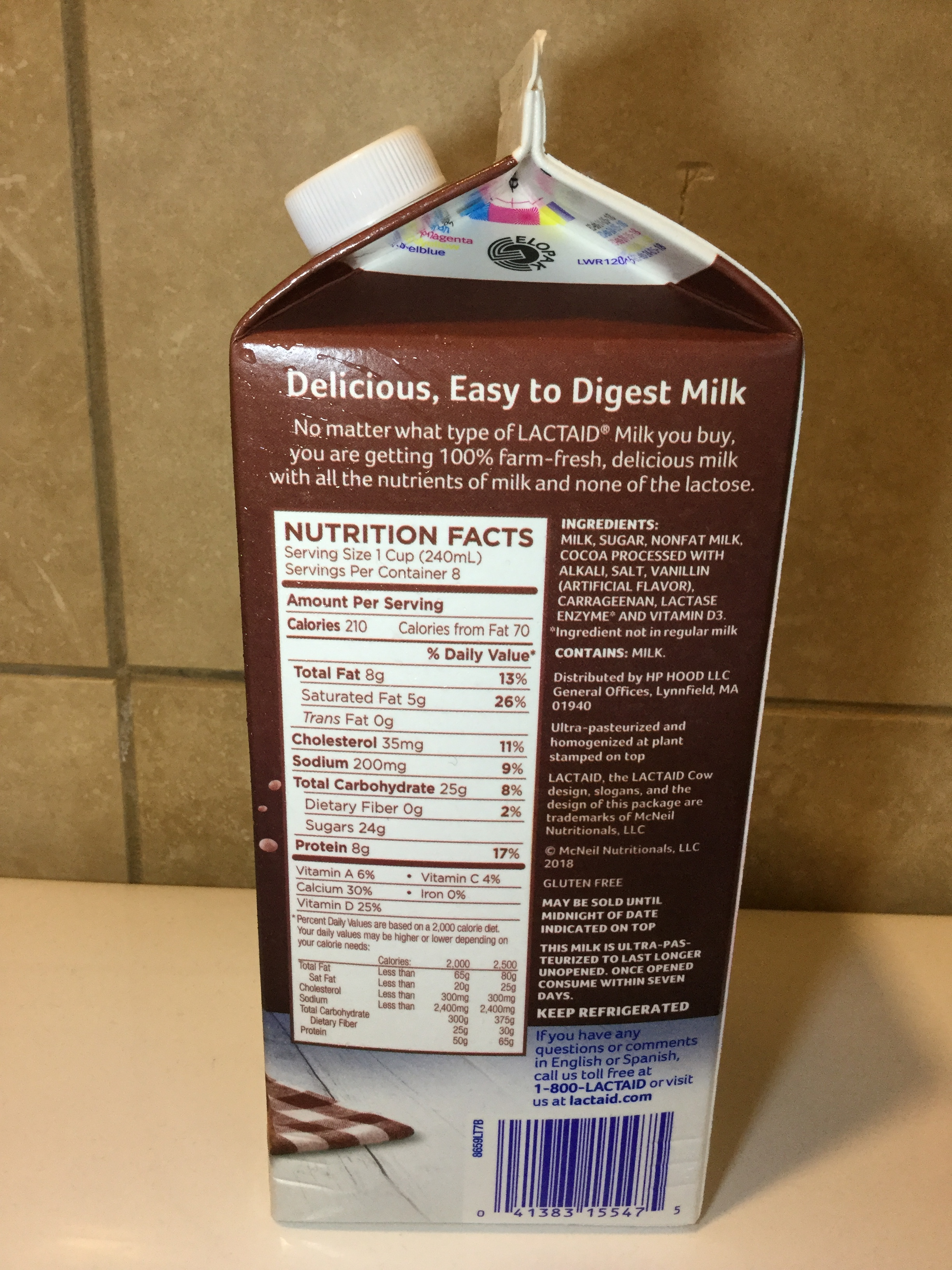 Lactaid Chocolate Milk Side 1
