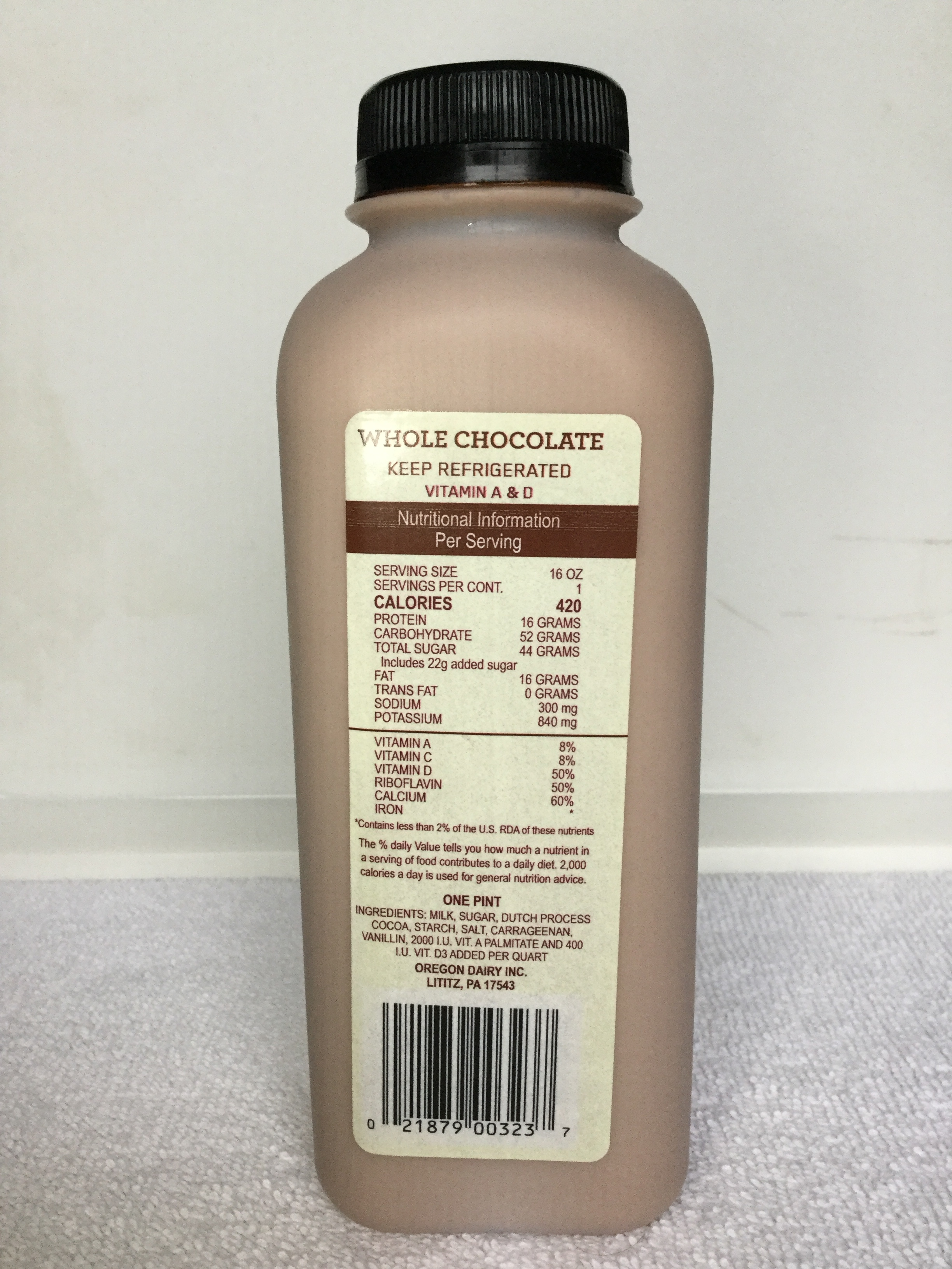 Oregon Dairy Chocolate Milk Side 1
