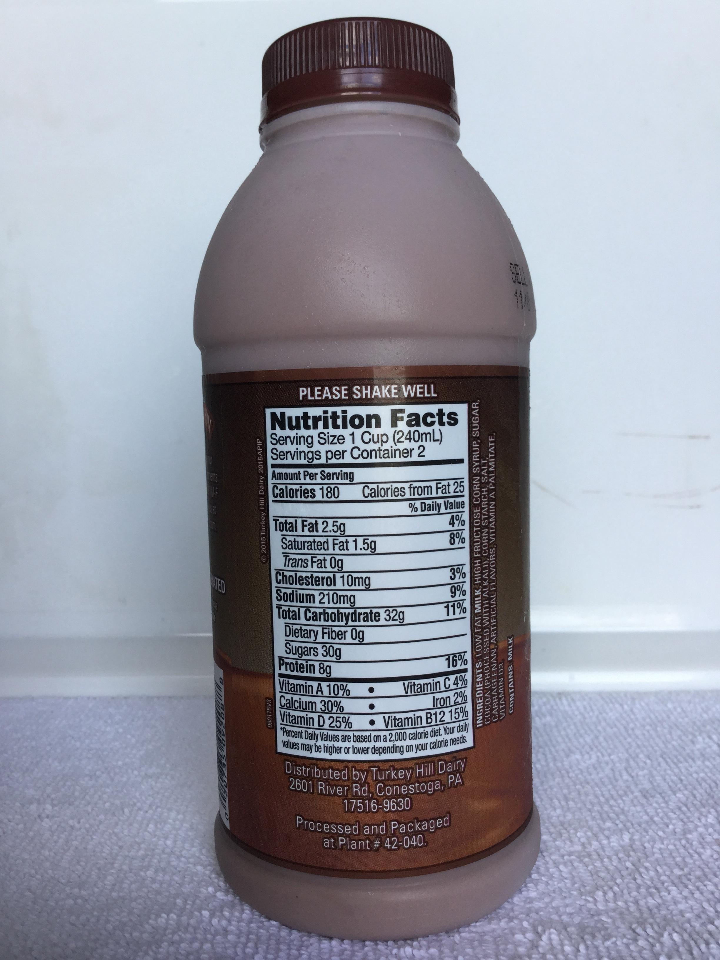 Turkey Hill Low Fat Chocolate Milk Side 1
