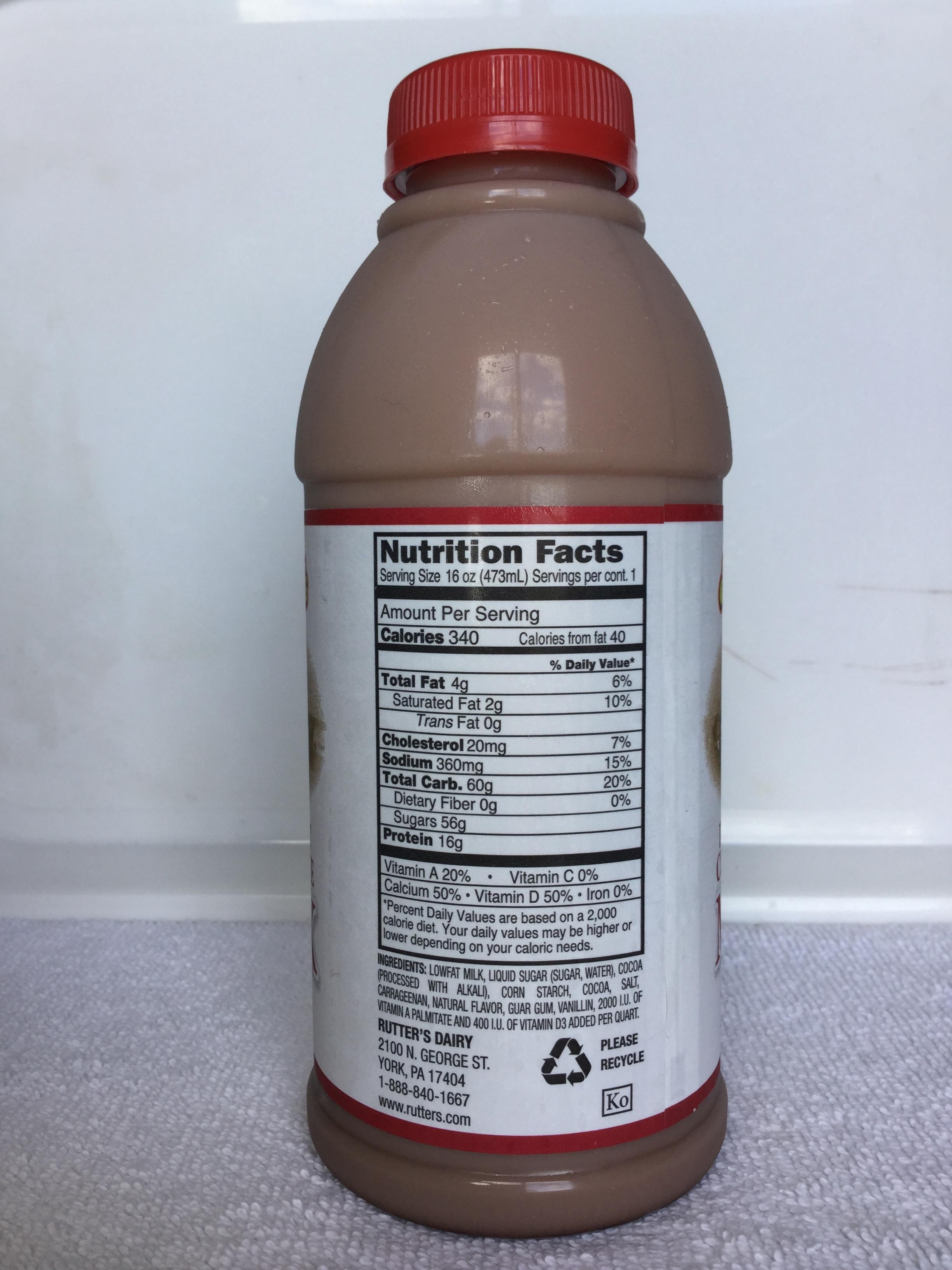 Rutter's Lowfat Chocolate Milk Side 1