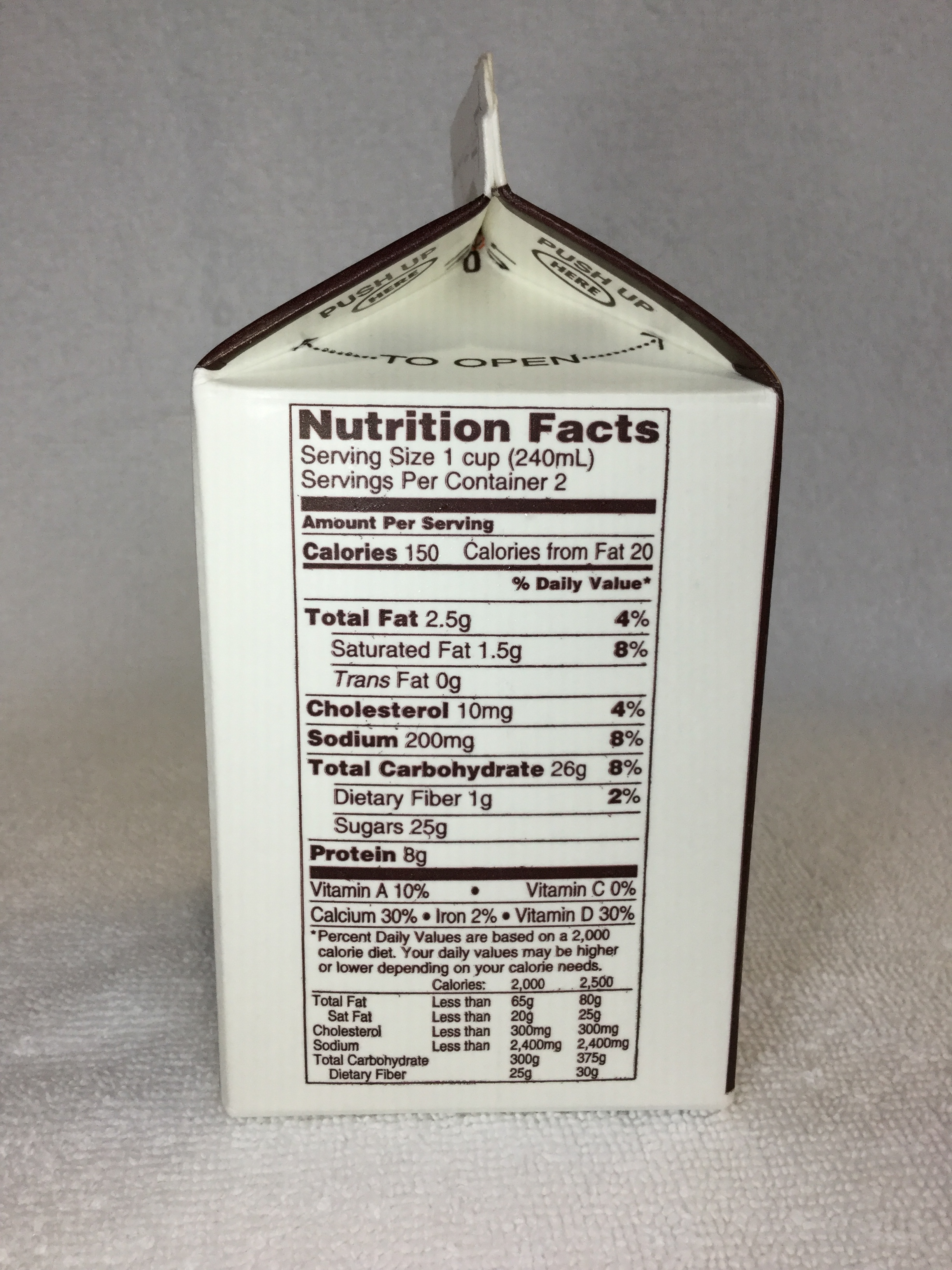 Vale Wood Farms Lowfat Chocolate Milk Side 1