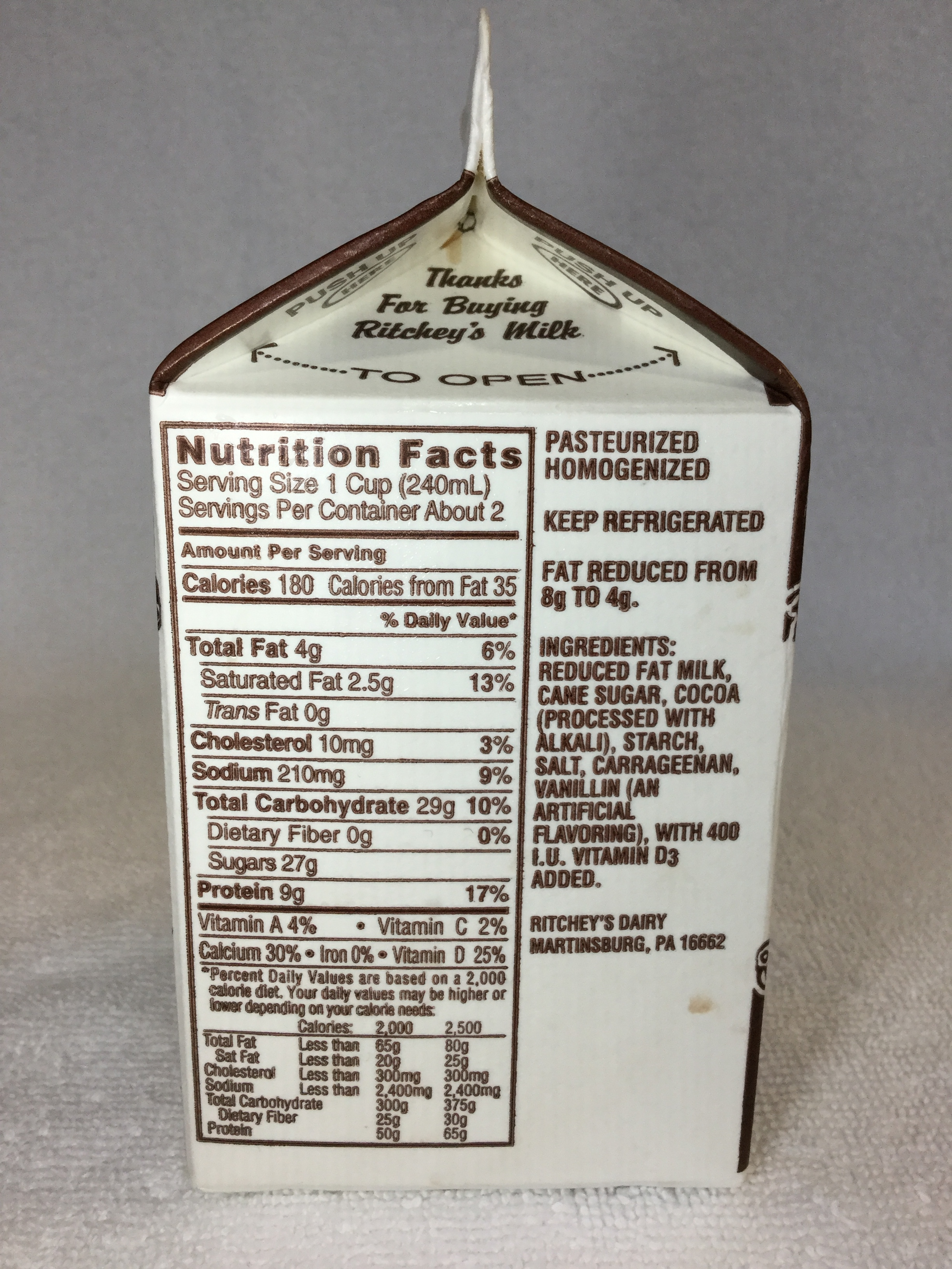 Ritchey's Country Fresh Chocolate Milk Side 1