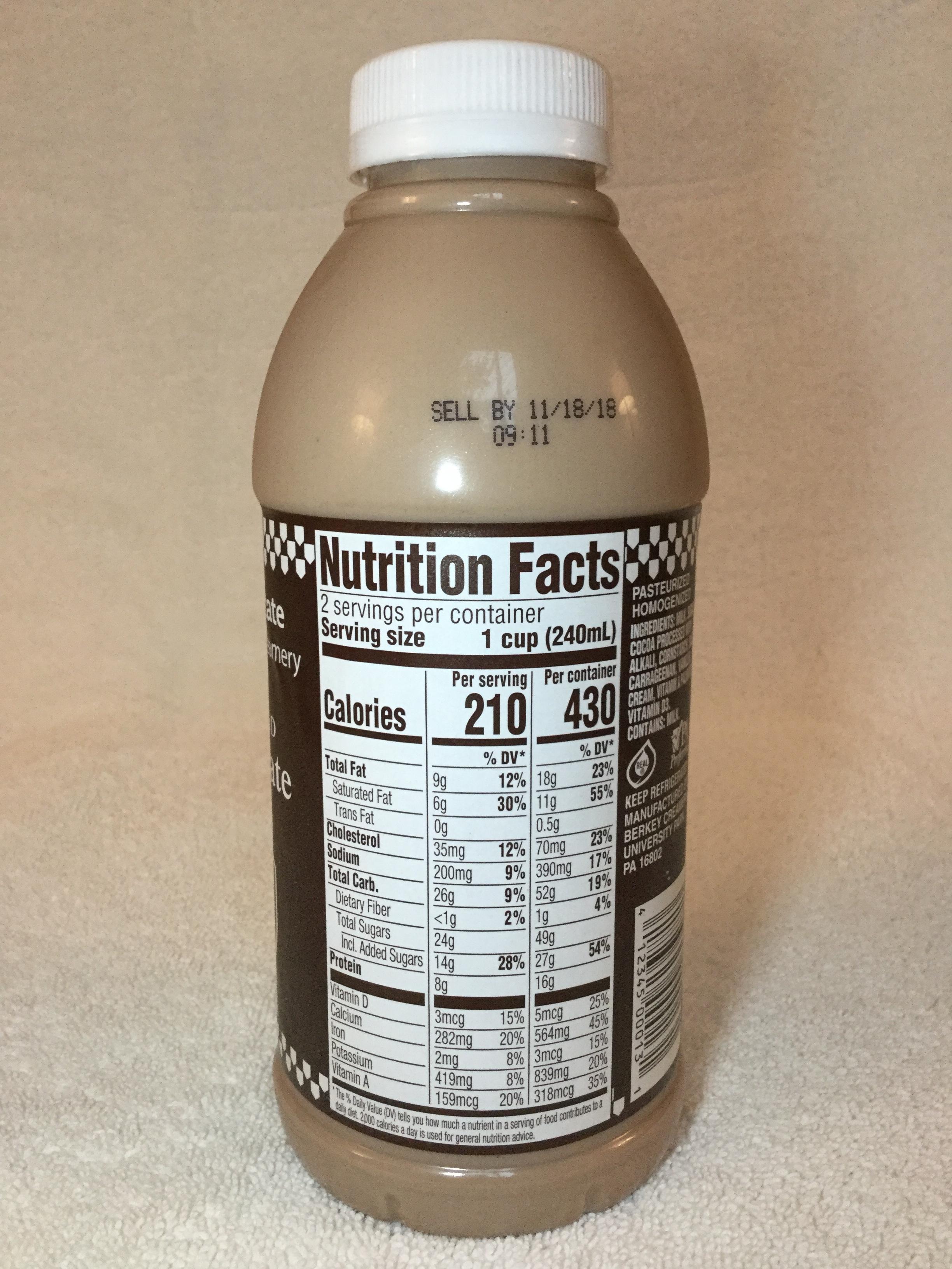 Penn State Berkey Creamery Chocolate Milk Side 1