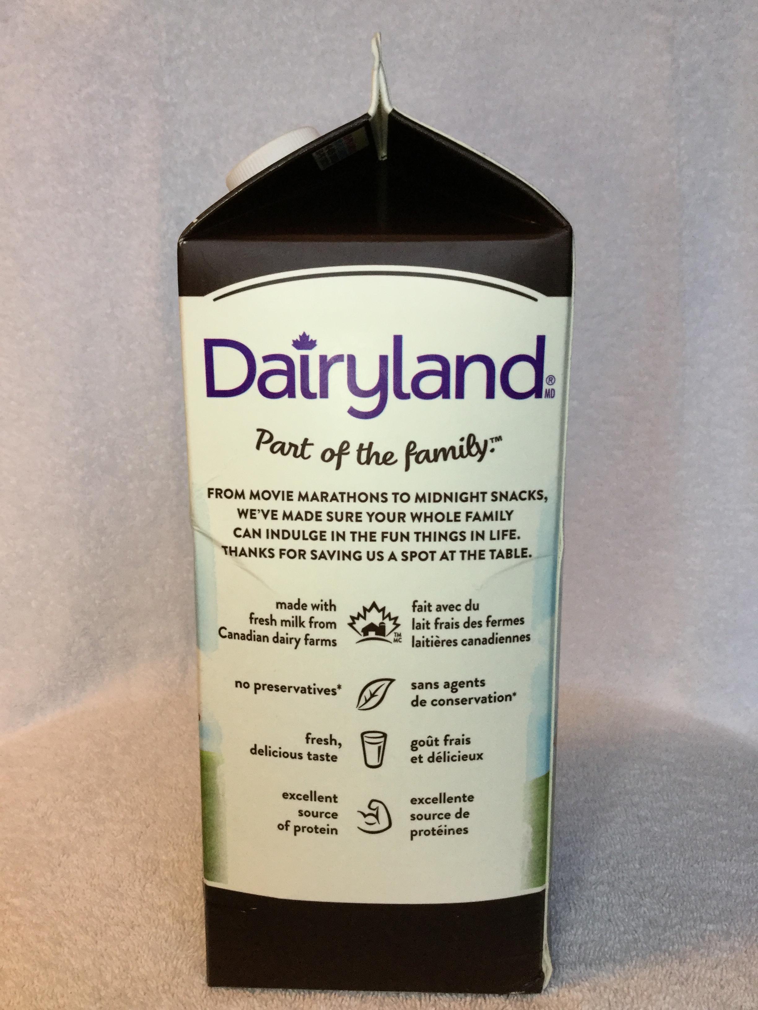 Dairyland Lactose Free Chocolate Milk Side 2