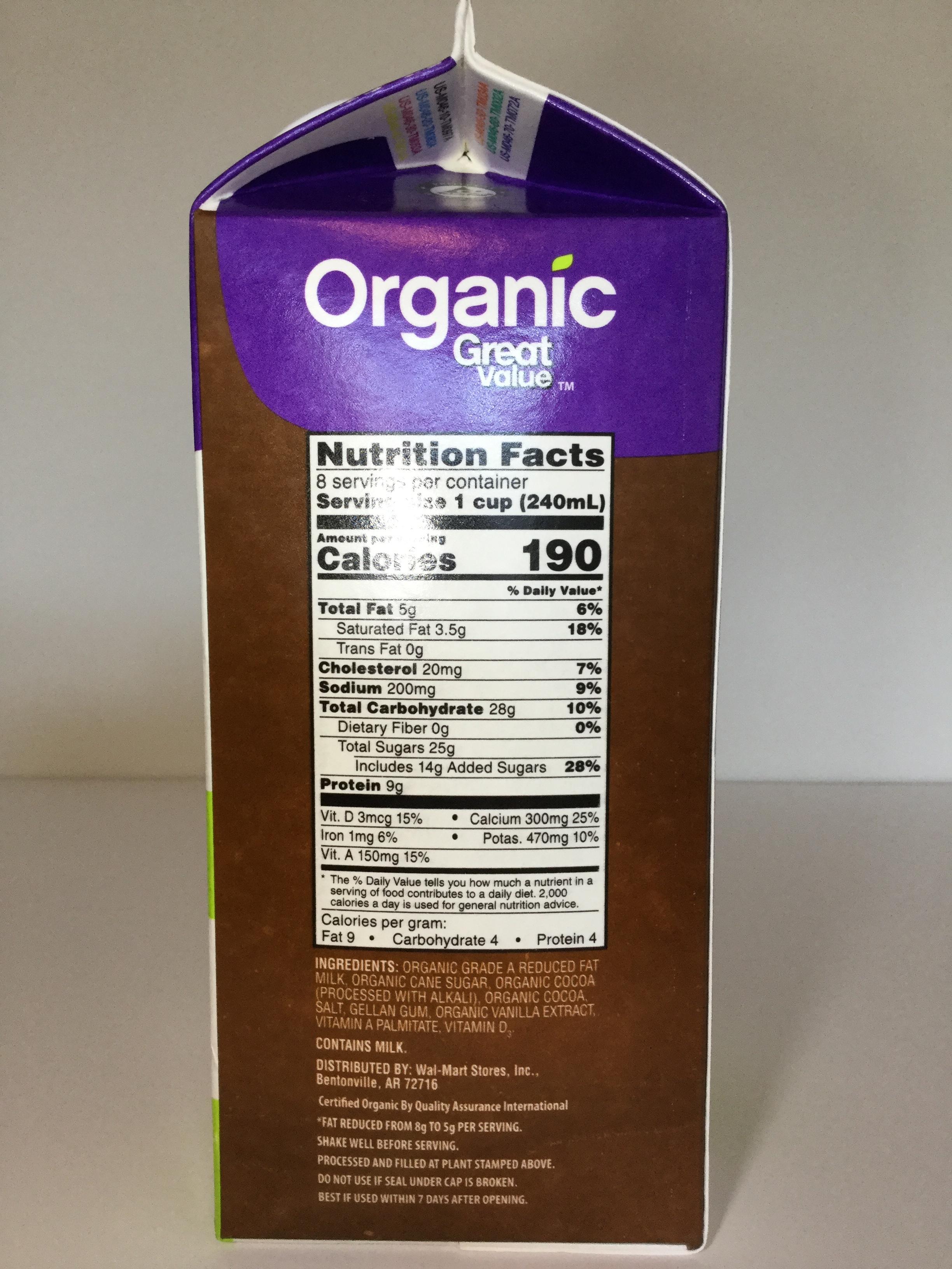 Great Value Organic Chocolate Milk Side 1