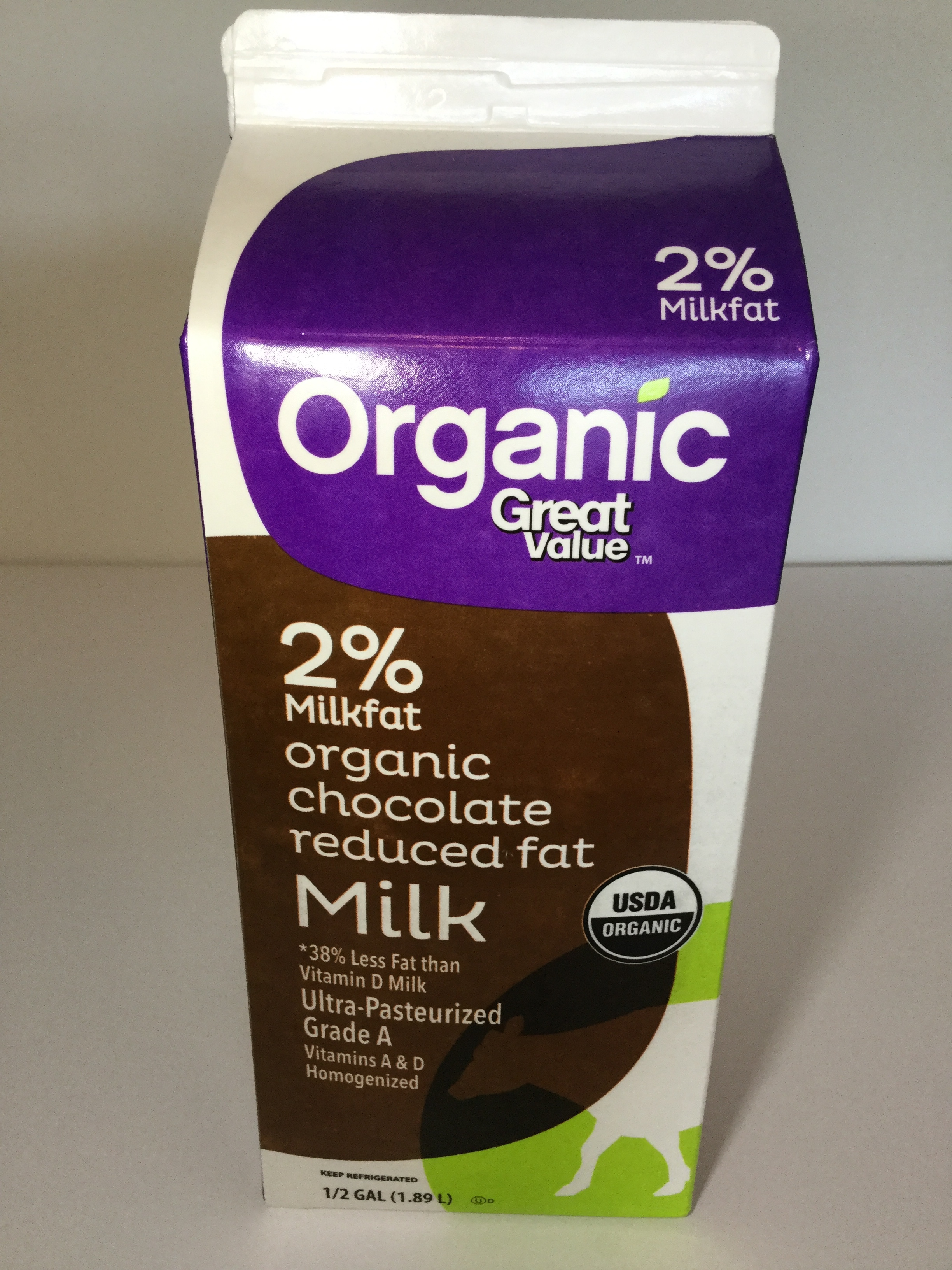 Great Value Organic Chocolate Milk Side 3