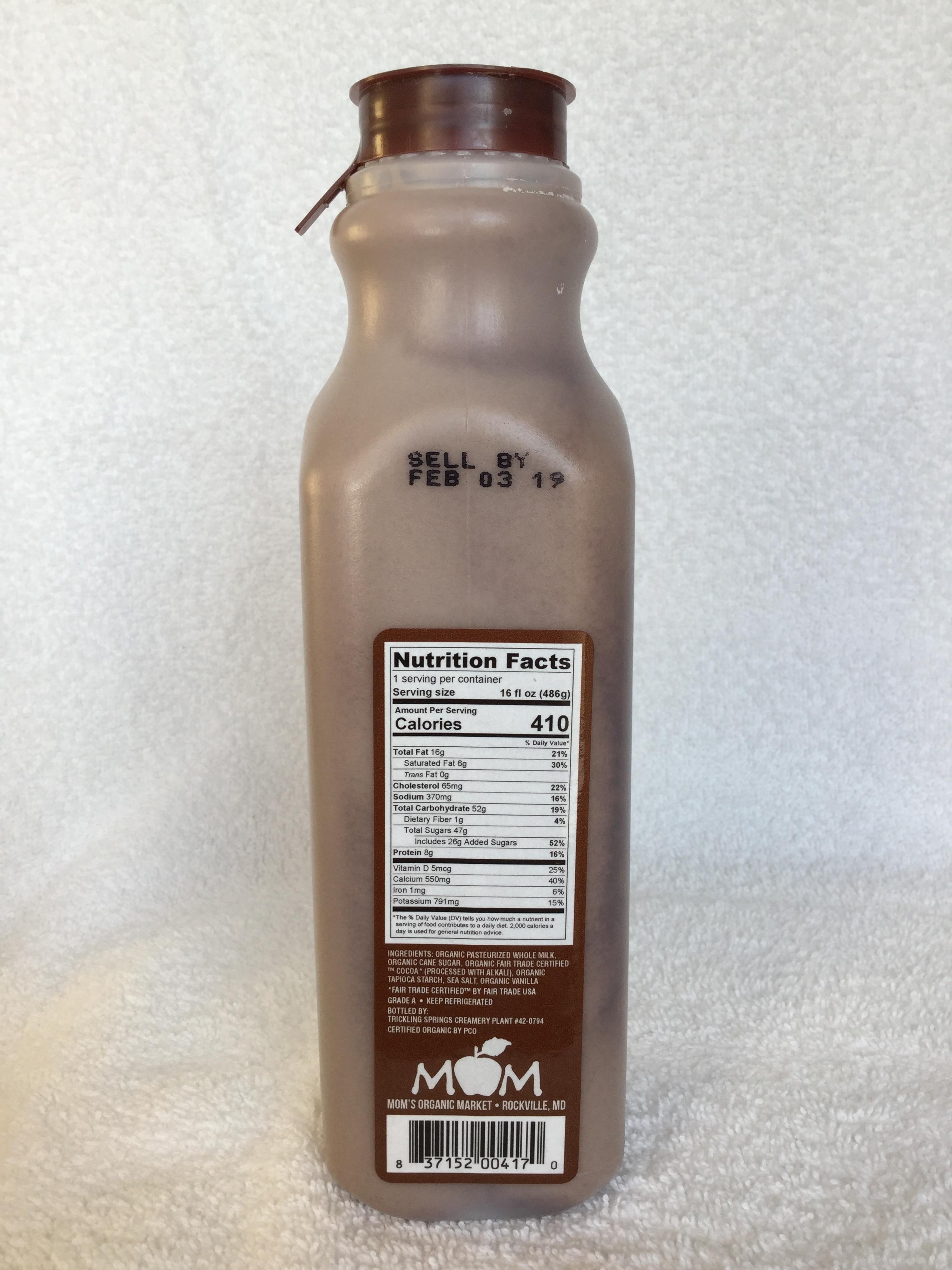 Mom's Organic Chocolate Milk Side 1