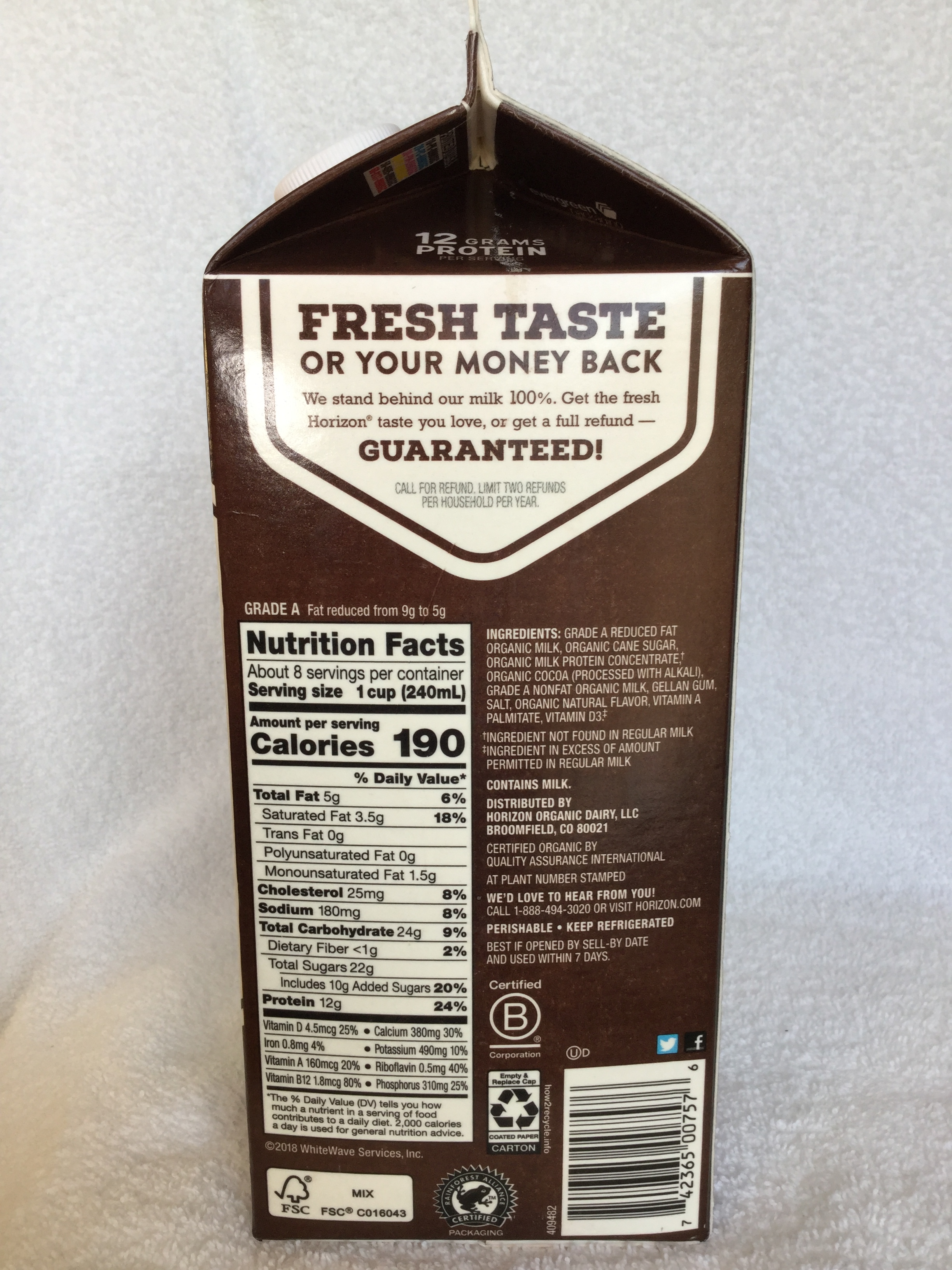 Horizon Organic Protein Reduced Fat Chocolate Milk Side 1