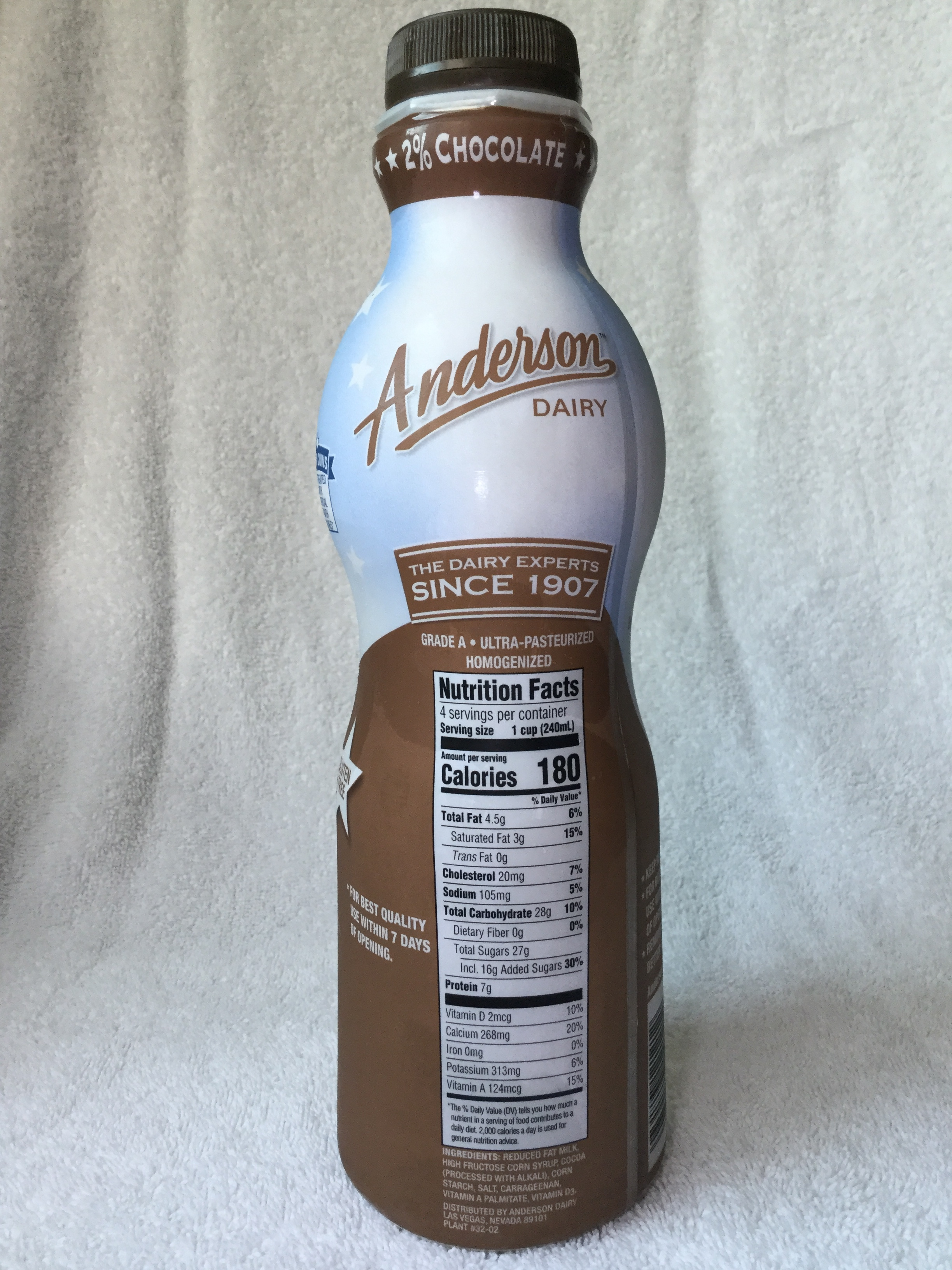 Anderson Dairy Reduced Fat Chocolate Milk Side 1