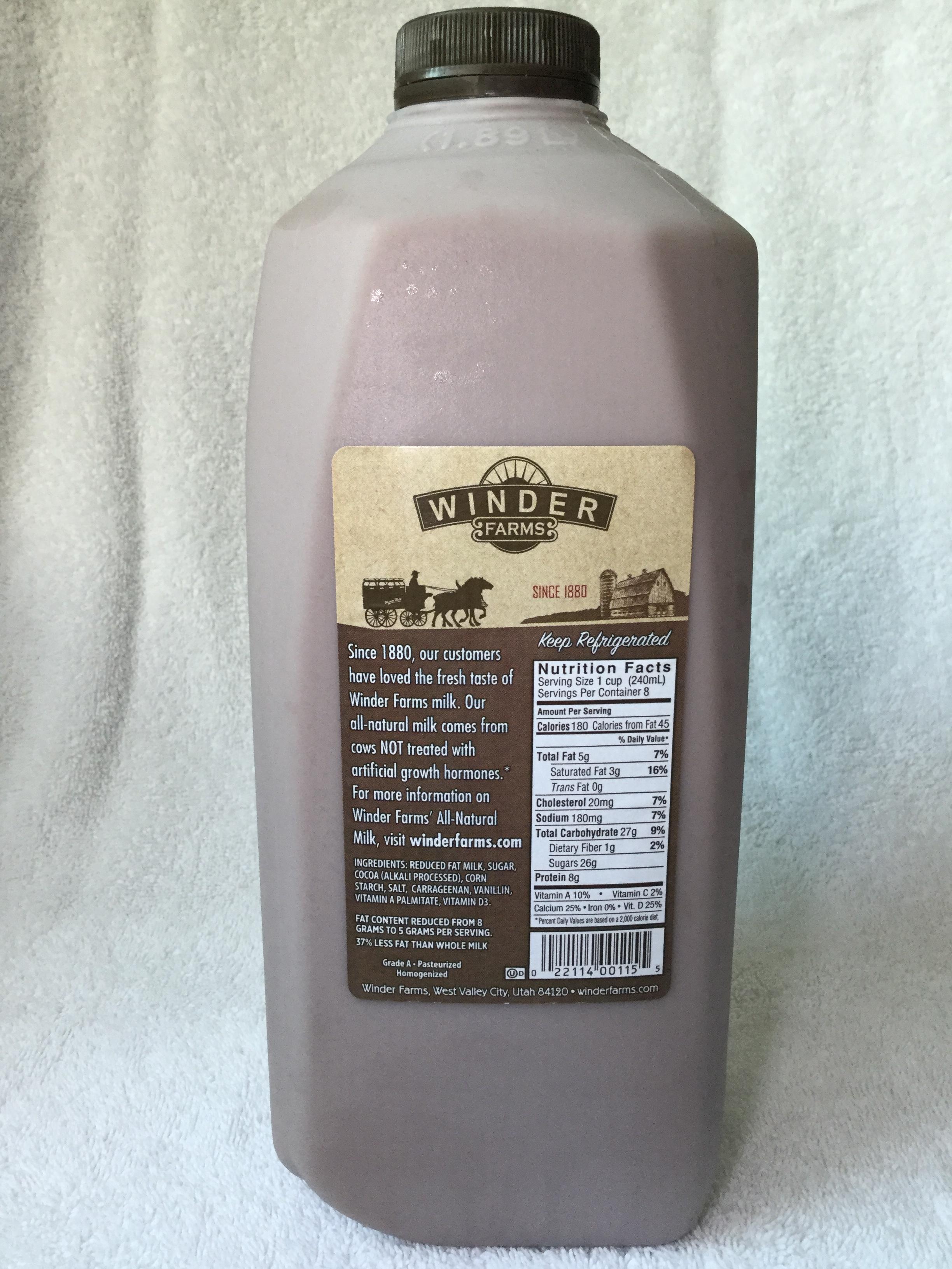 Winder Farms Reduced Fat Chocolate Milk Side 1