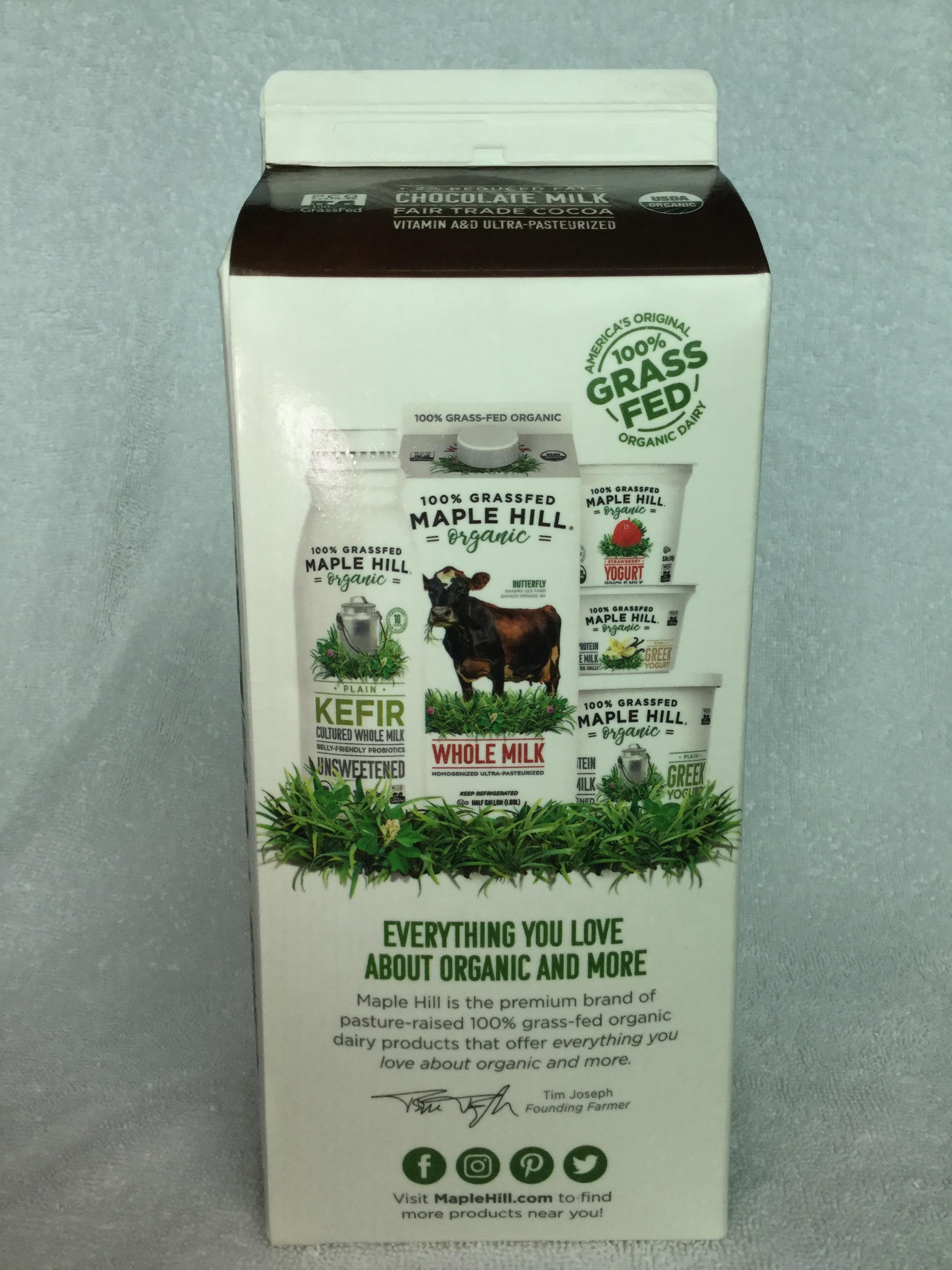 Maple Hill Organic Chocolate Milk Side 2