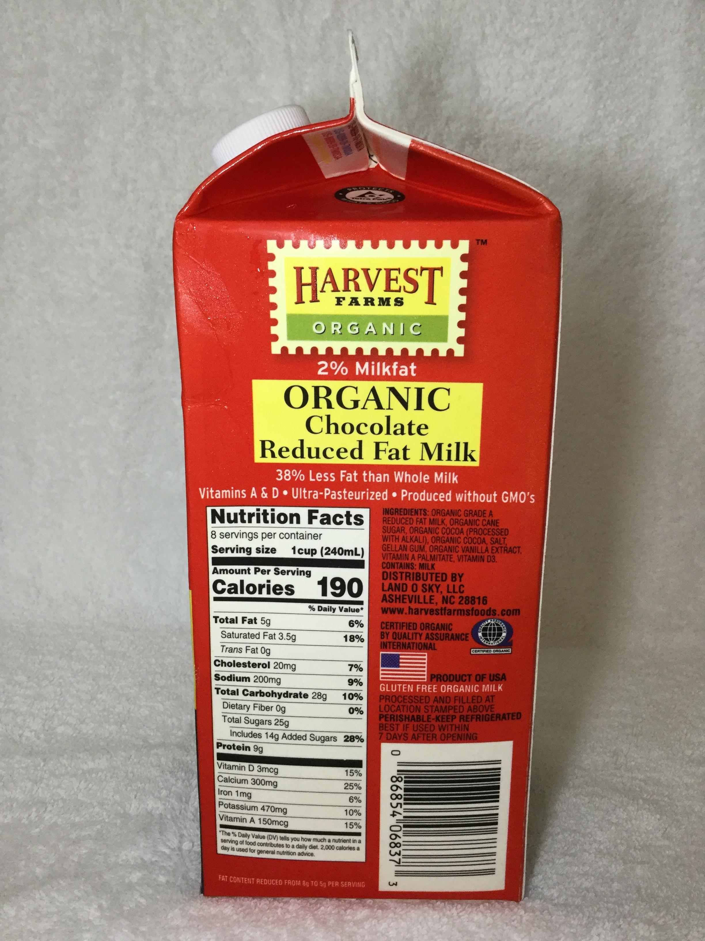 Harvest Farms Organic Chocolate Milk Side 1
