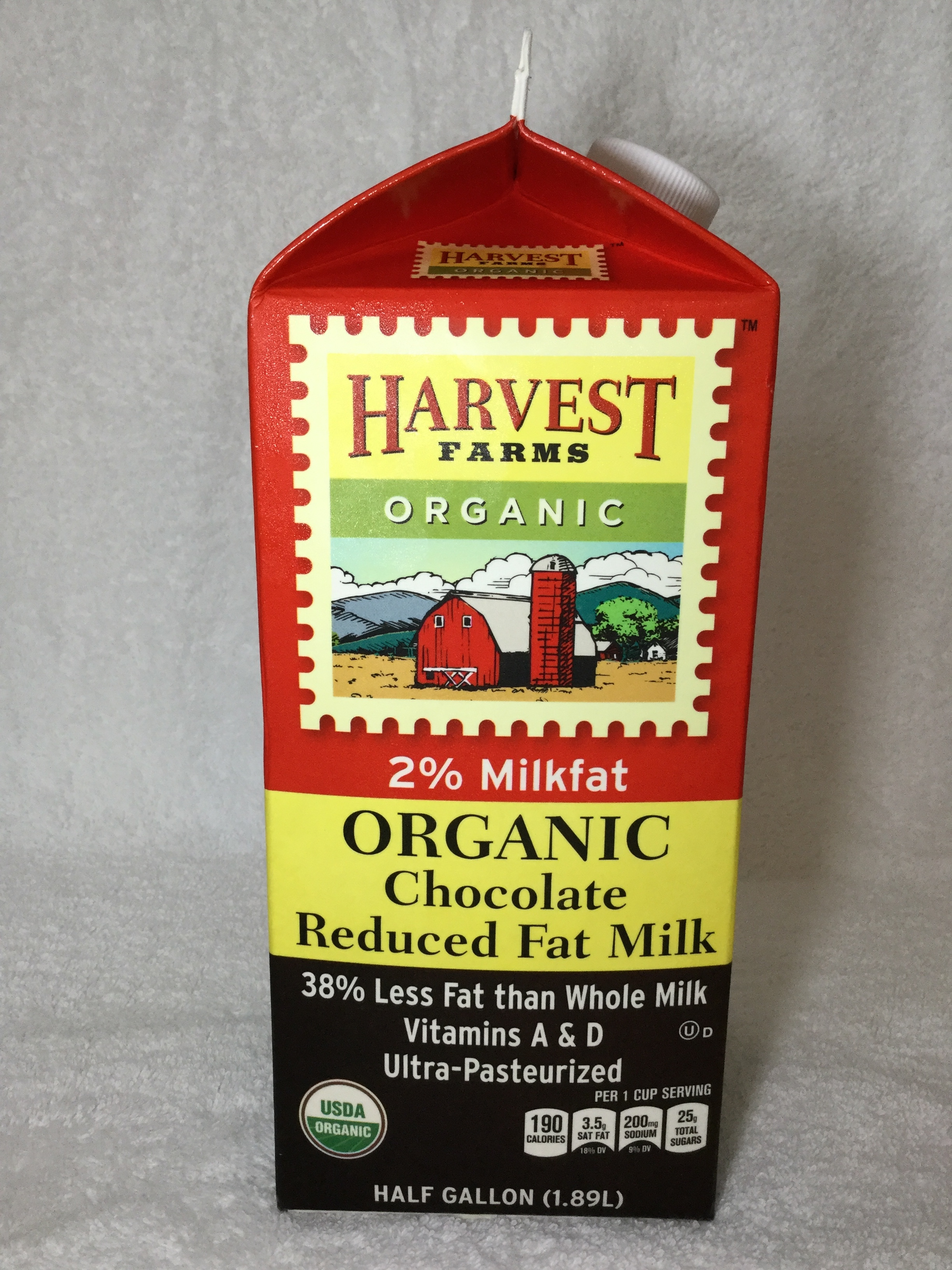 Harvest Farms Organic Chocolate Milk Side 2