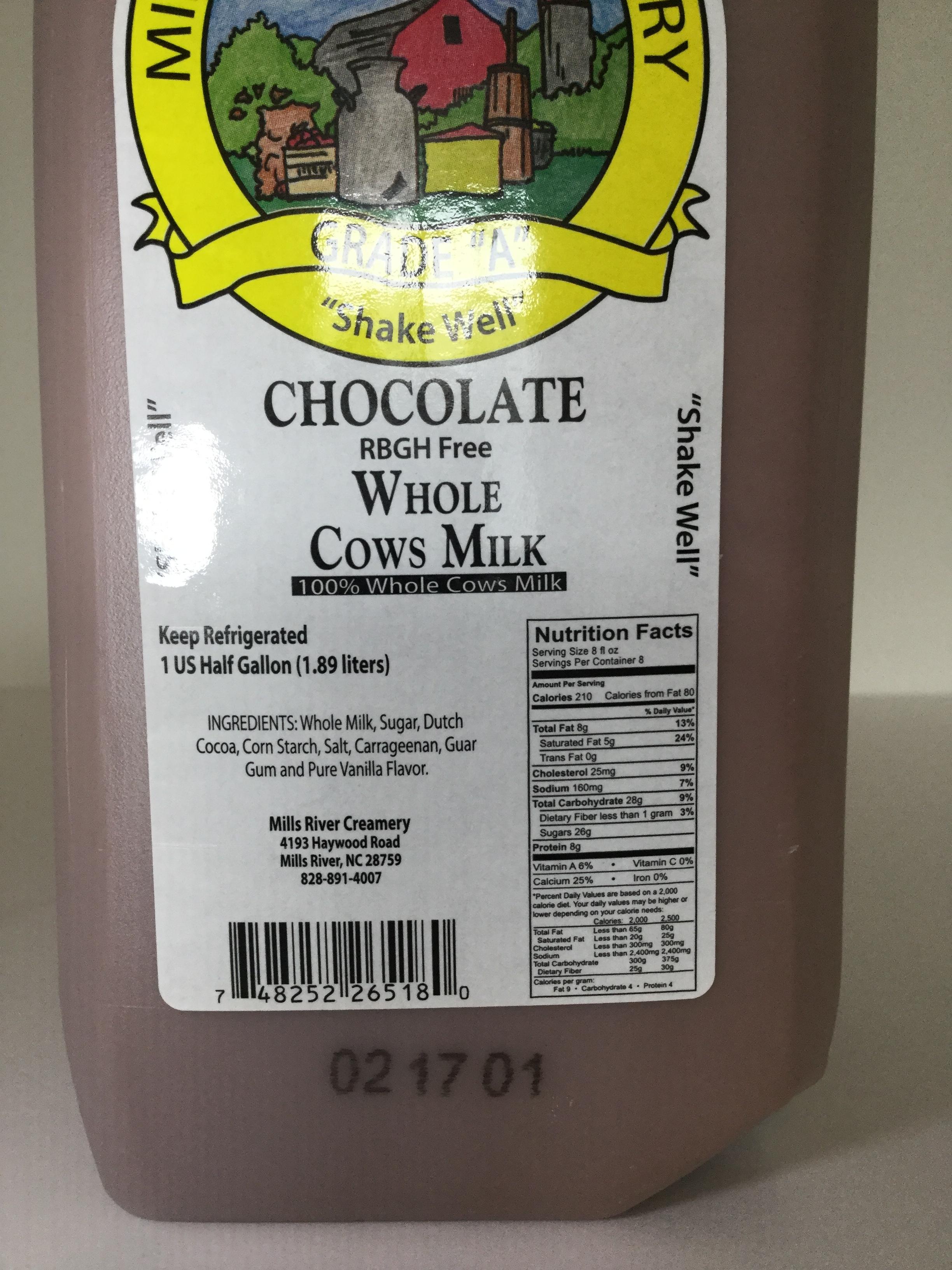 Mills River Creamery Chocolate Milk Side 4
