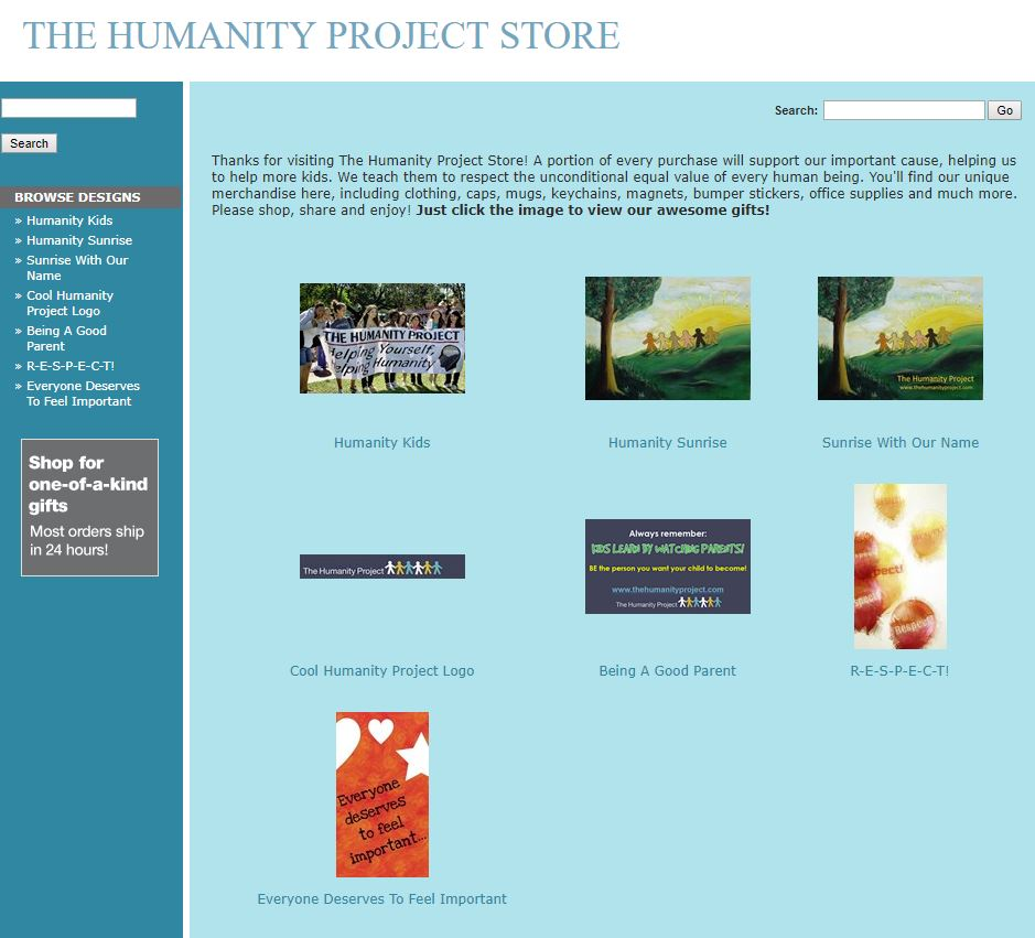 "A screen capture of our new online store, which links with the ""Store"" page on this website"